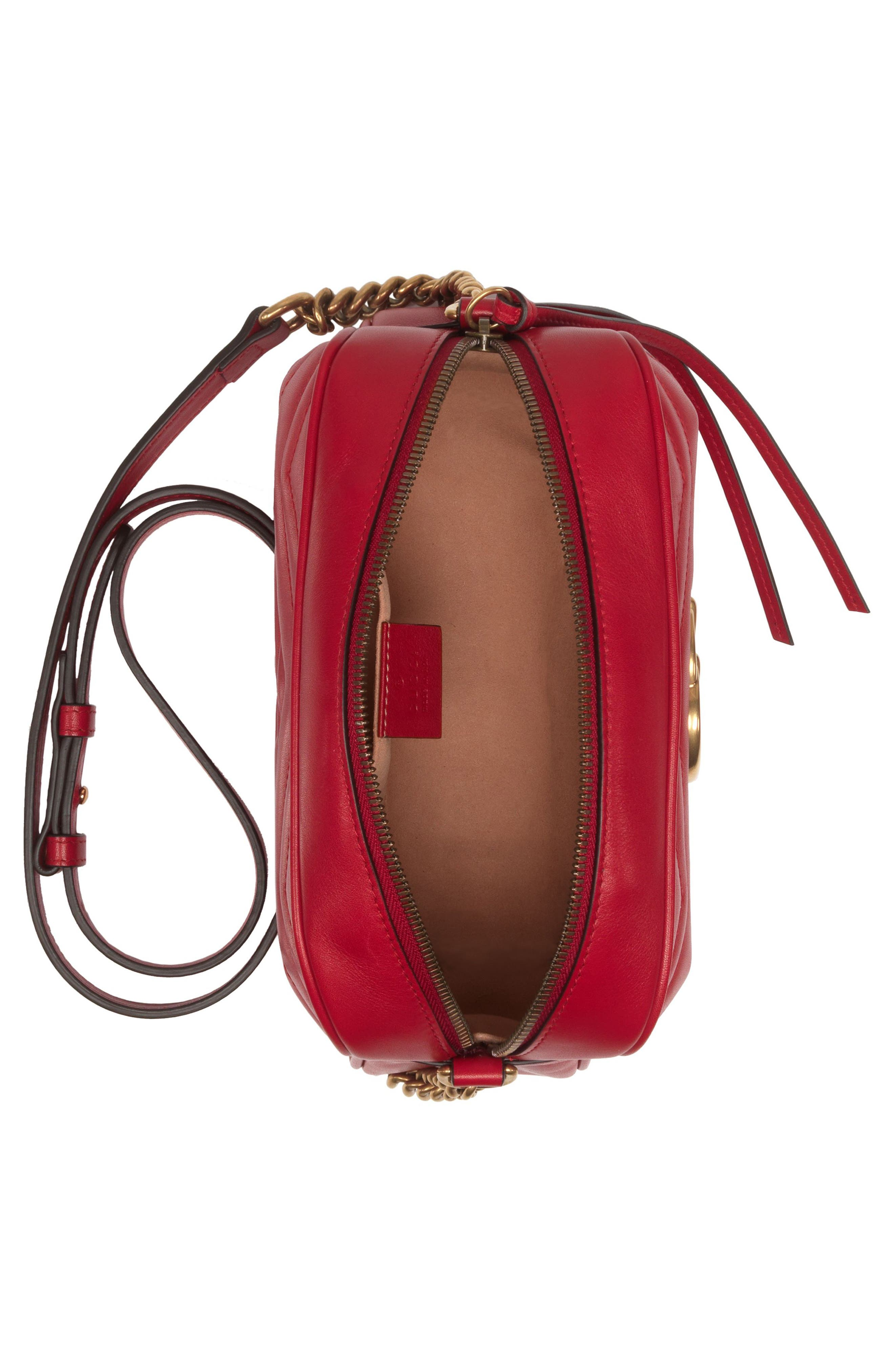 GUCCI,                             Small GG Marmont 2.0 Matelassé Leather Camera Bag,                             Alternate thumbnail 3, color,                             HIBISCUS RED/ HIBISCUS RED
