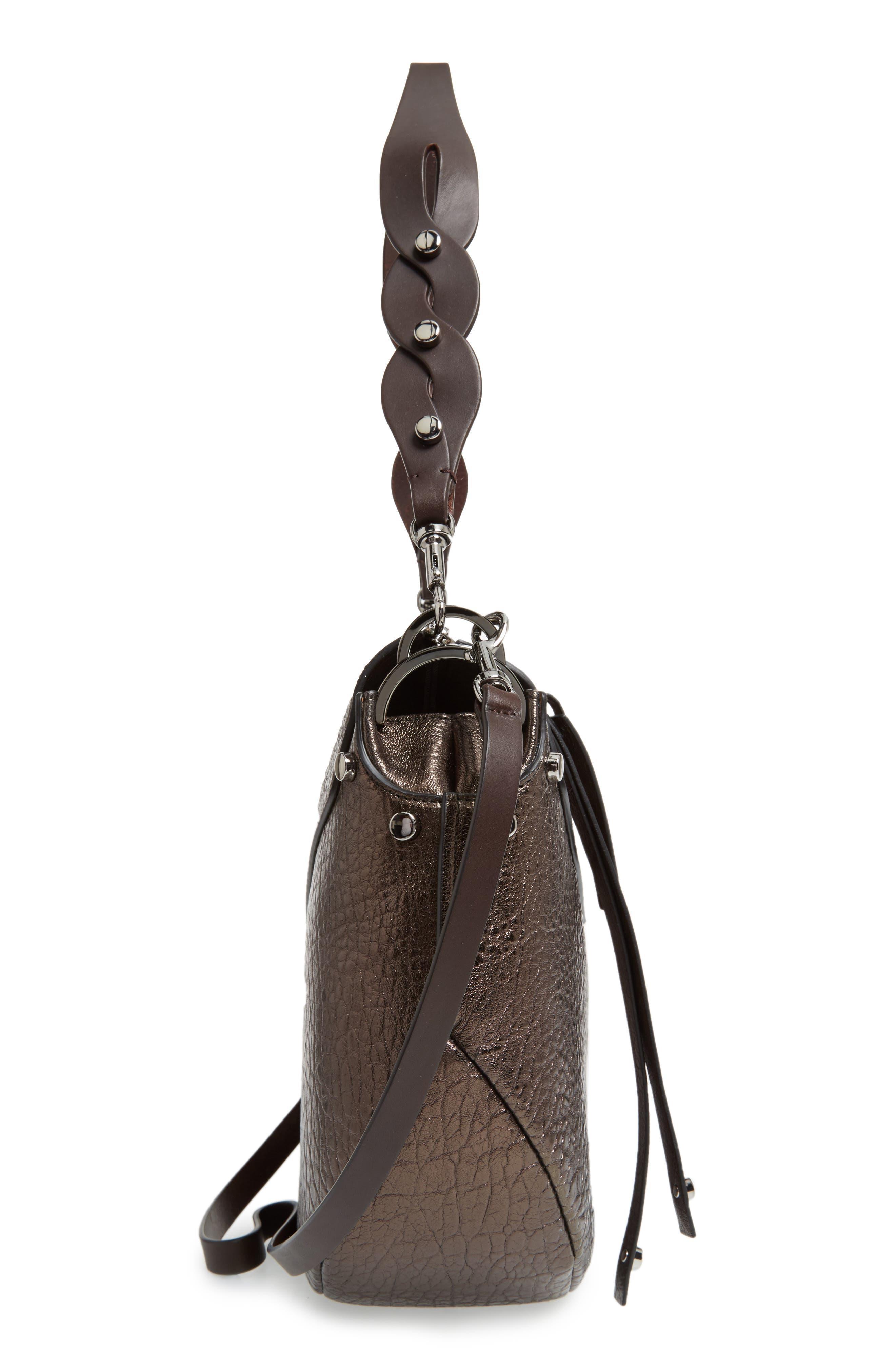 Artie Metallic Leather Hobo Bag,                             Alternate thumbnail 5, color,                             200