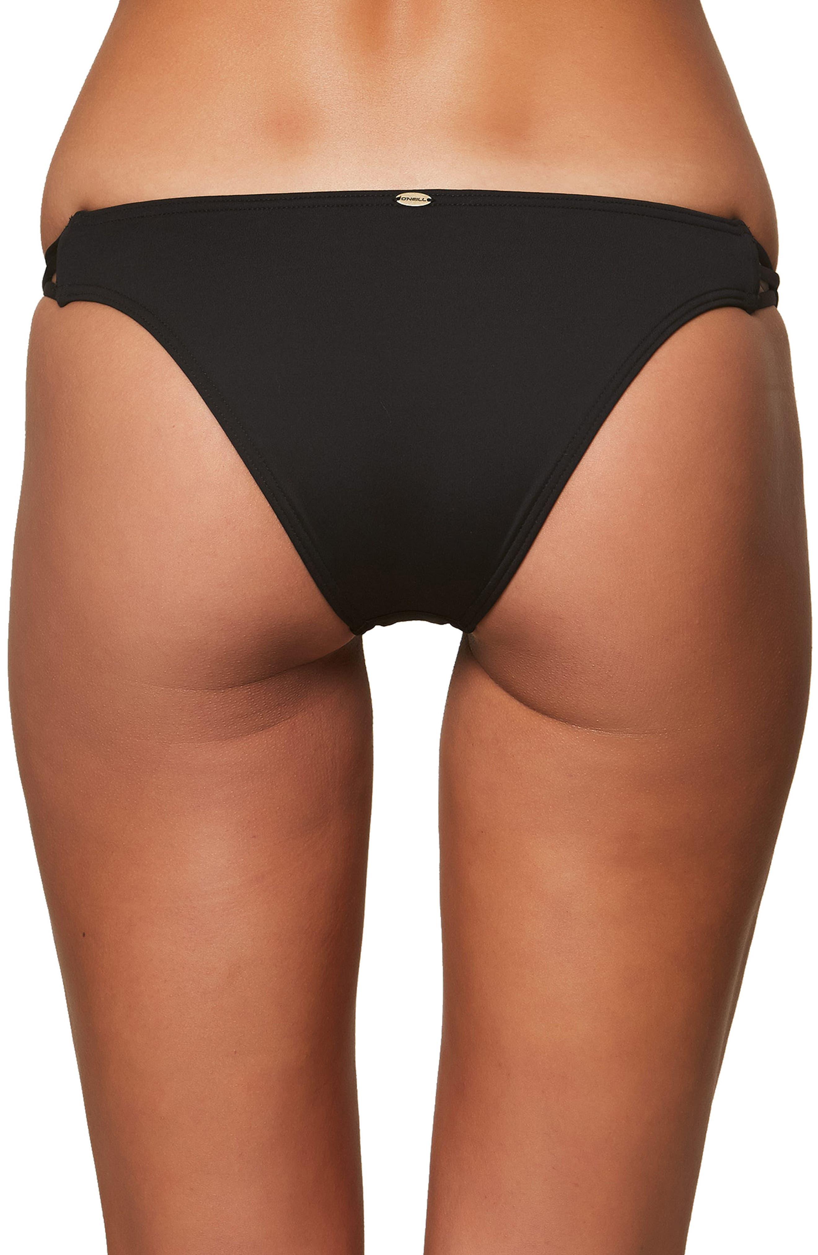 Salt Water Solids Strappy Bikini Bottoms,                             Alternate thumbnail 2, color,                             BLACK