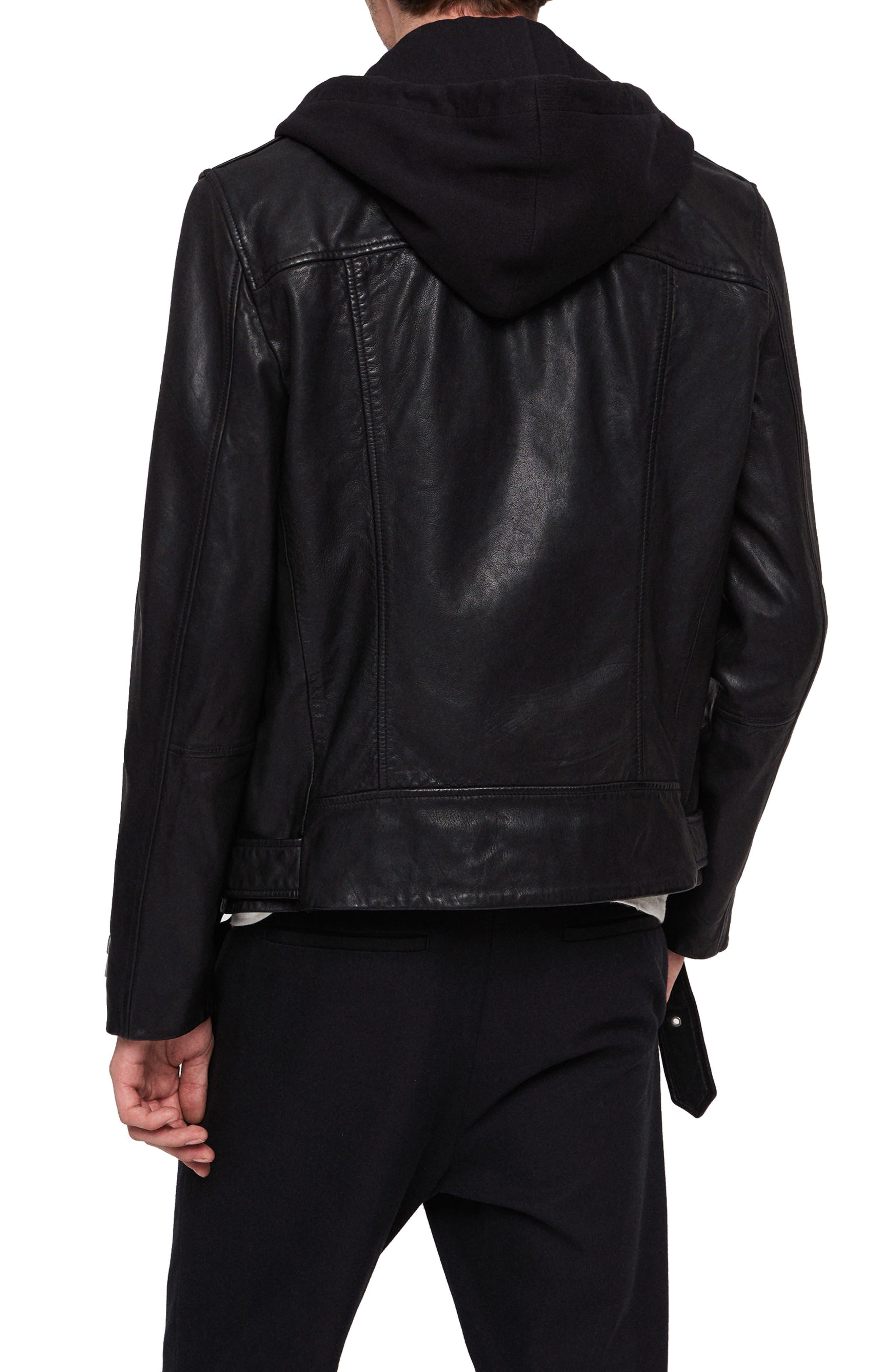 Renzo Slim Fit Leather Biker Jacket,                             Alternate thumbnail 2, color,                             BLACK