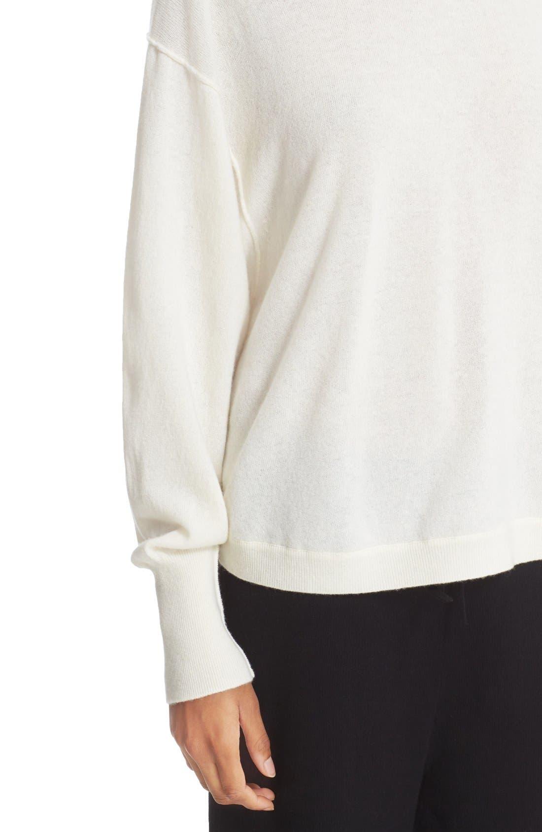 Shirttail Cashmere Sweater,                             Alternate thumbnail 4, color,                             101