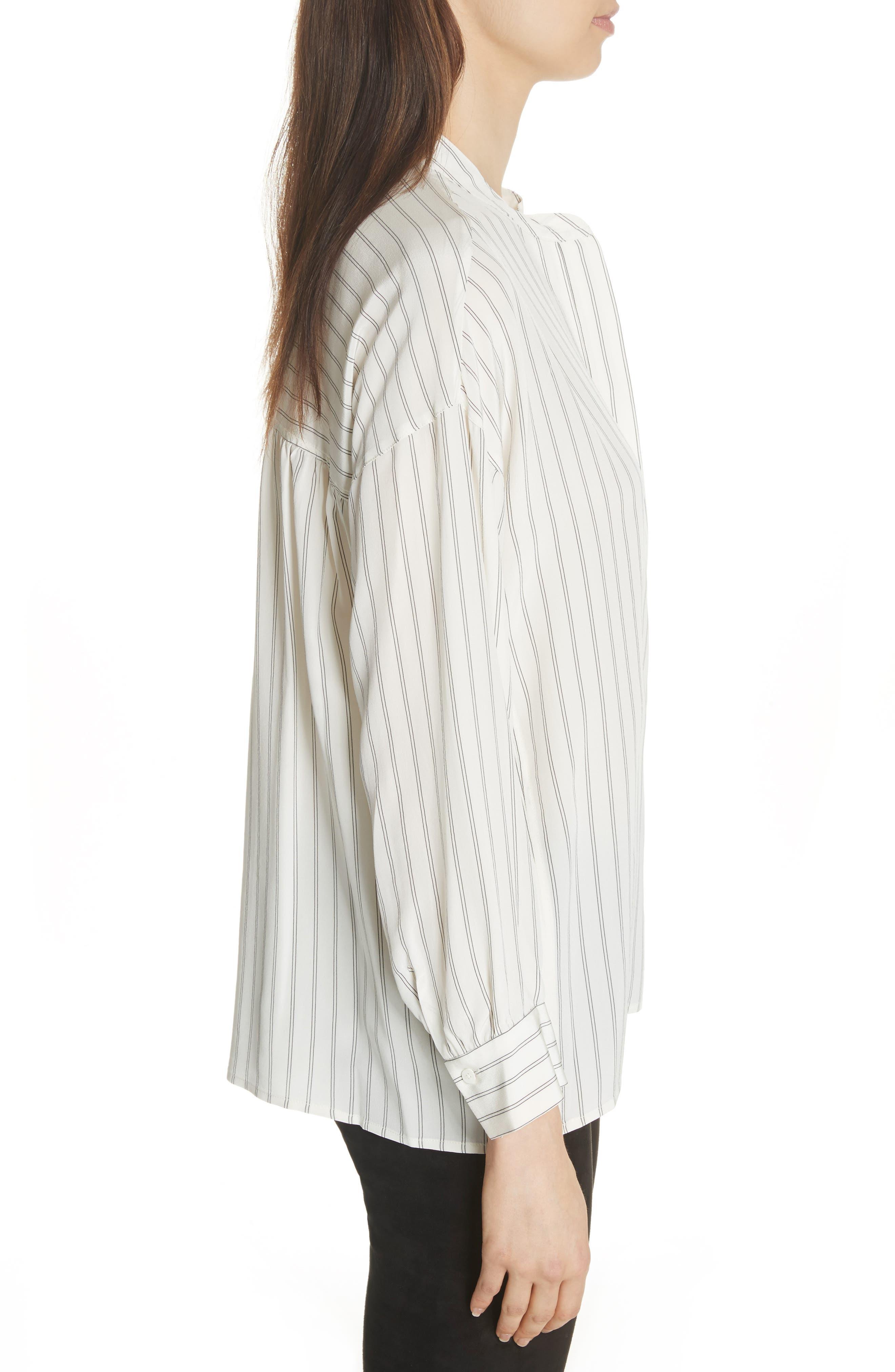 Double Stripe Silk Pullover,                             Alternate thumbnail 3, color,                             908
