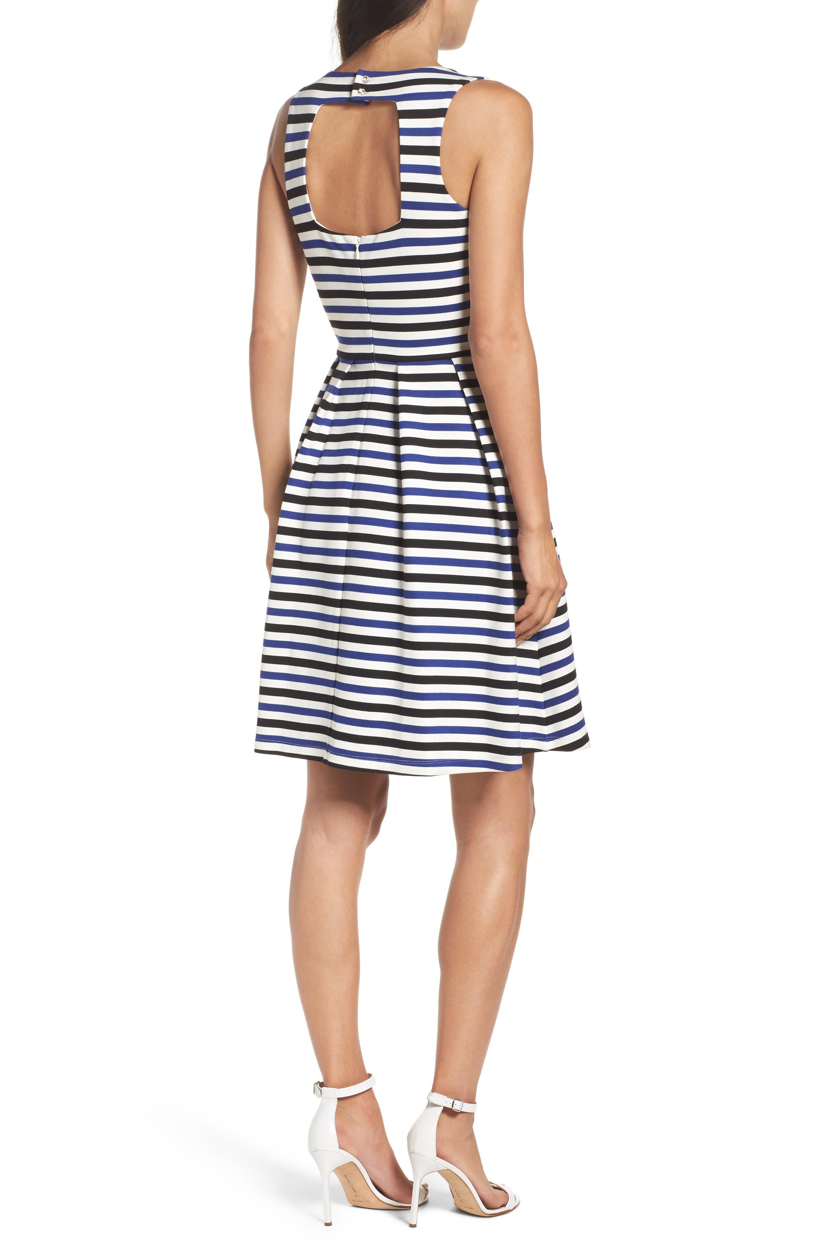 Ming Stripe Fit & Flare Dress,                             Alternate thumbnail 2, color,                             100