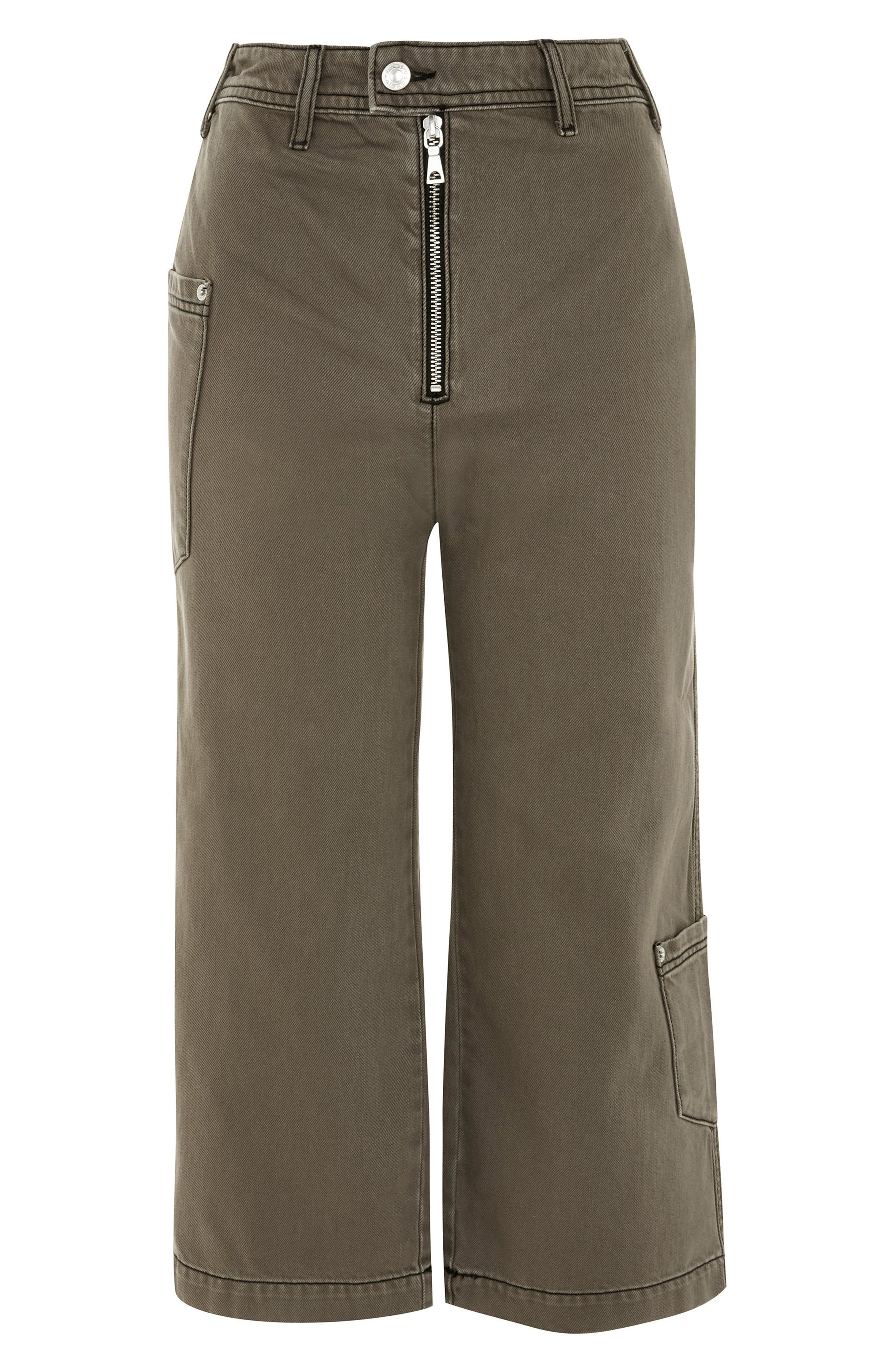 Straight Leg Crop Utility Jeans,                             Alternate thumbnail 3, color,                             OLIVE