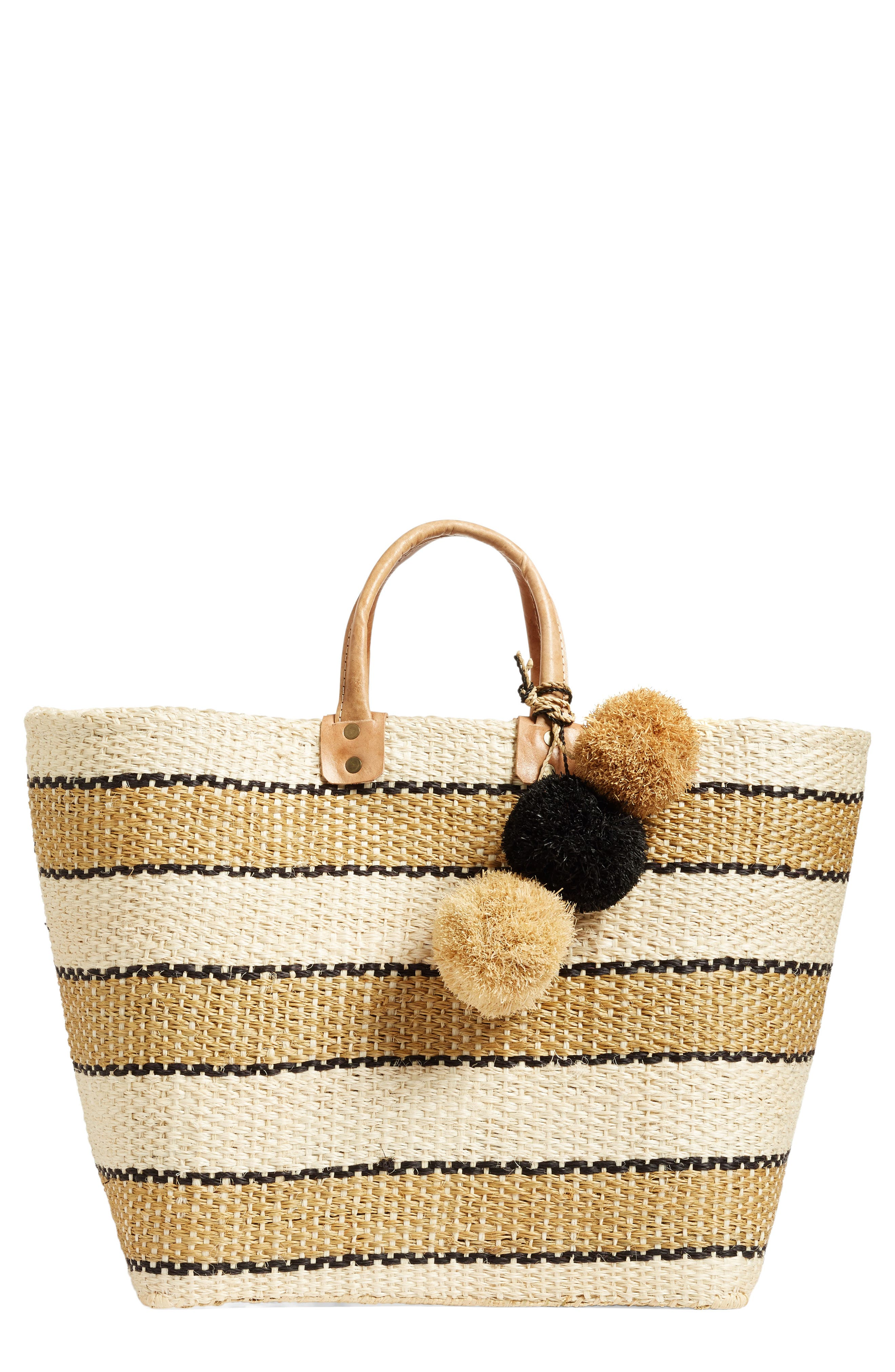 'Capri' Woven Tote with Pom Charms,                             Main thumbnail 1, color,                             200