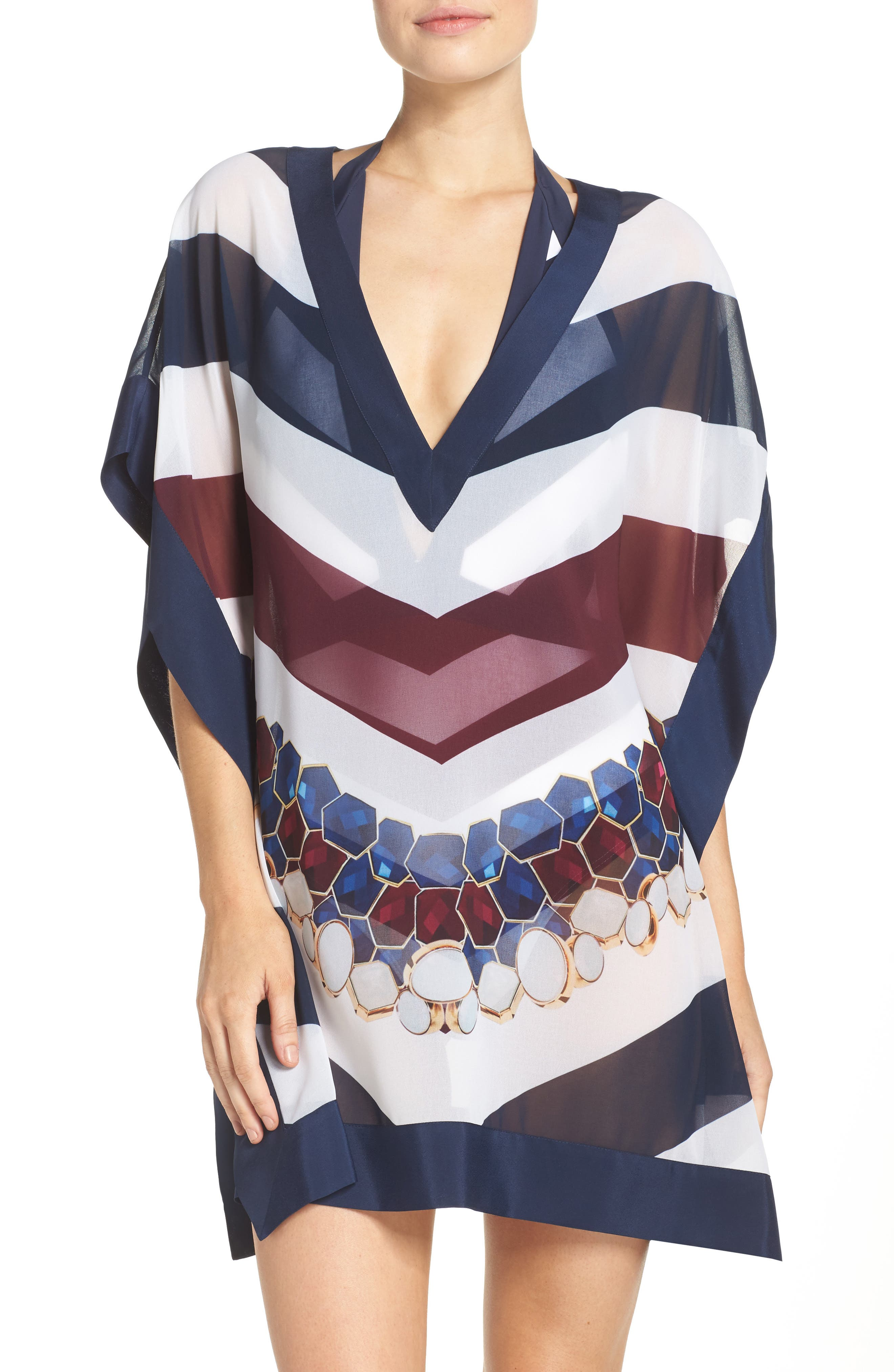Rowing Stripe Cover-Up Tunic,                             Main thumbnail 1, color,
