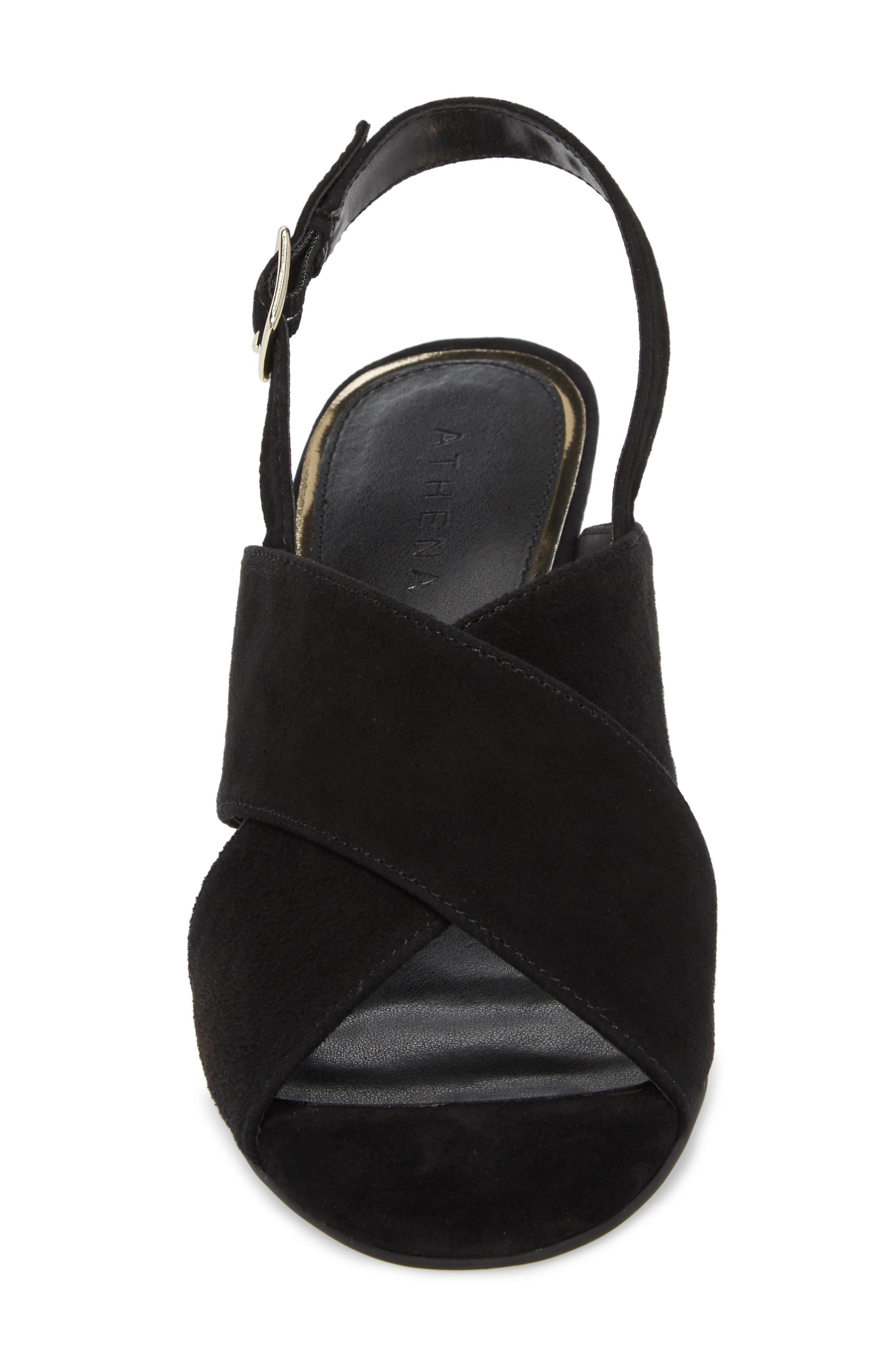 Eastford Wedge Sandal,                             Alternate thumbnail 4, color,                             BLACK SUEDE