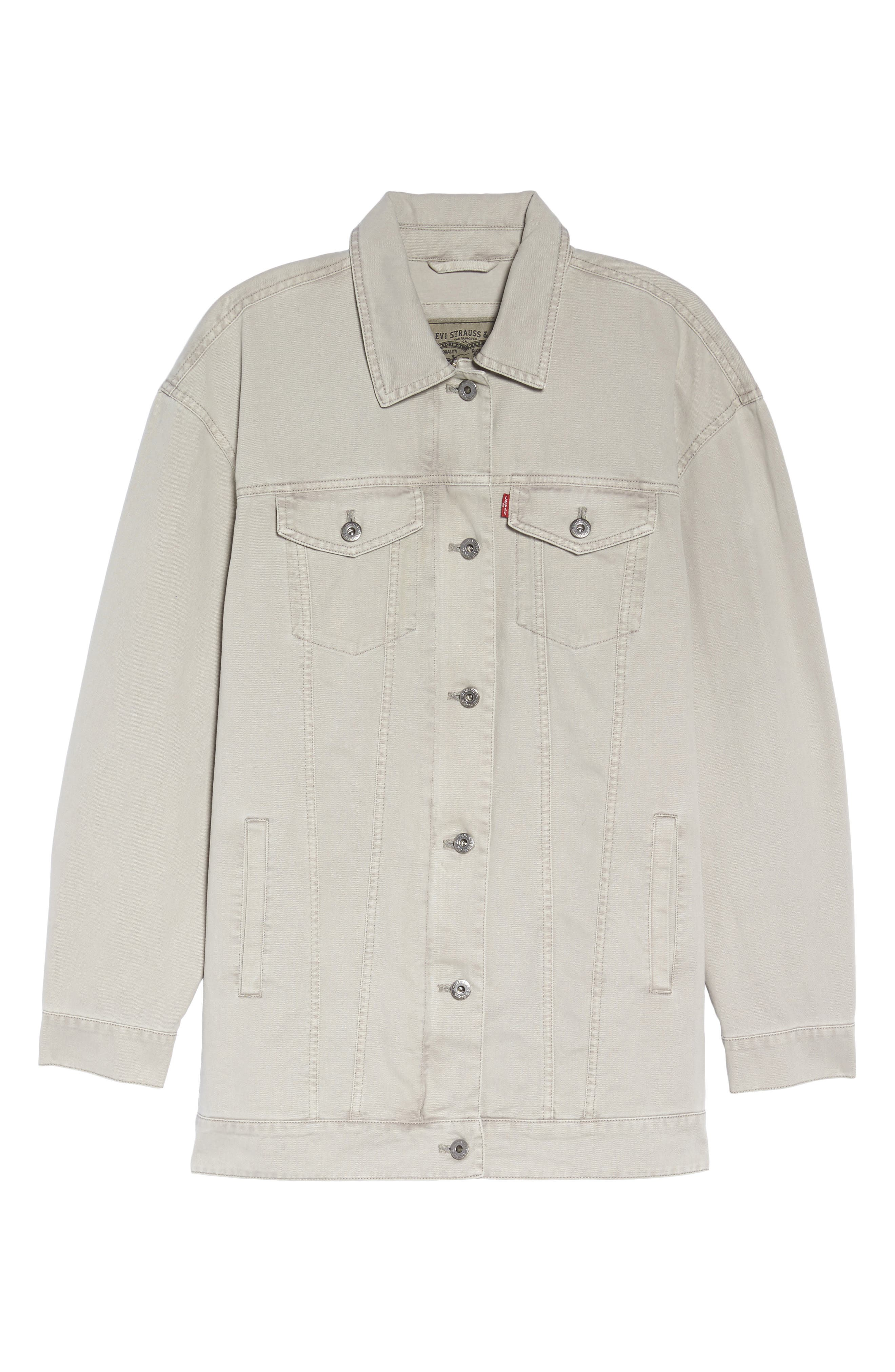 Oversize Cotton Canvas Trucker Jacket,                             Alternate thumbnail 5, color,                             030