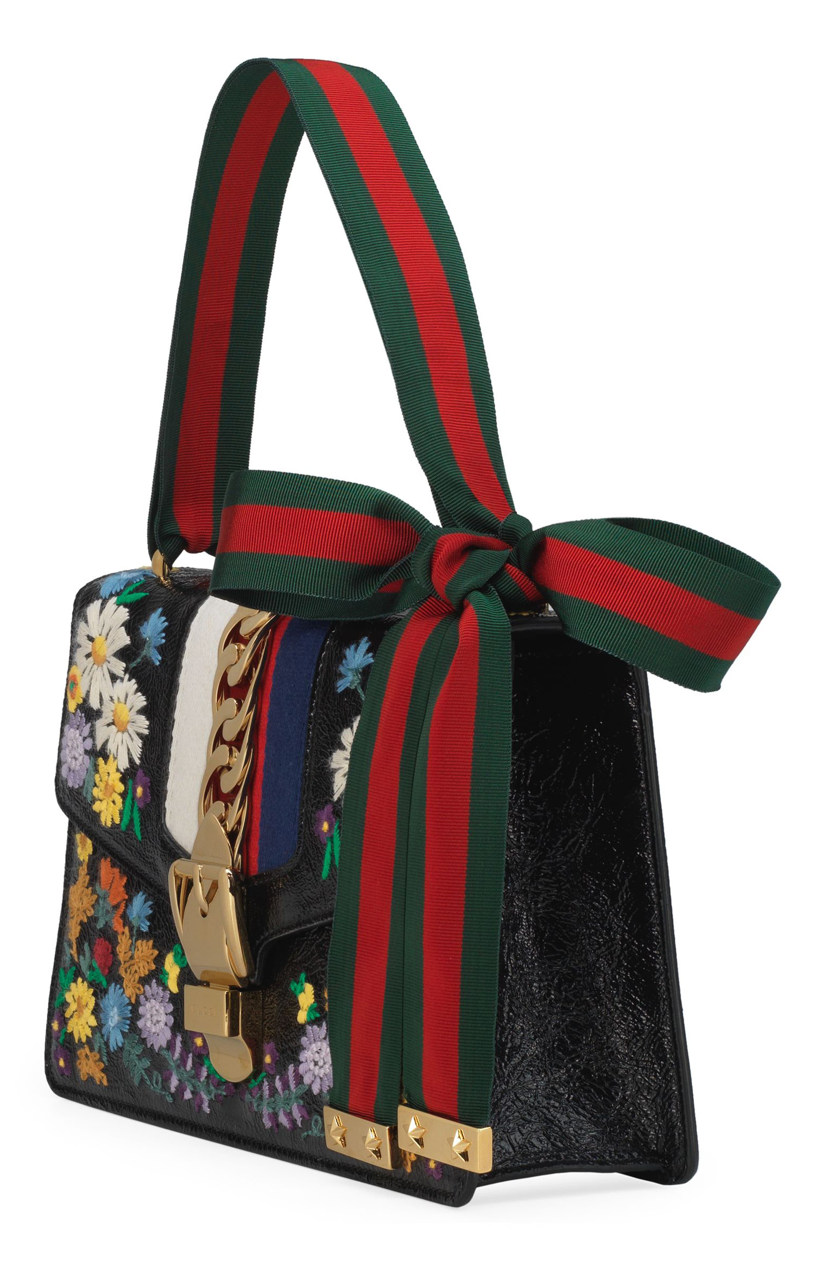 Small Sylvie Floral Embroidered Leather Top Handle Shoulder Bag,                             Alternate thumbnail 5, color,                             001