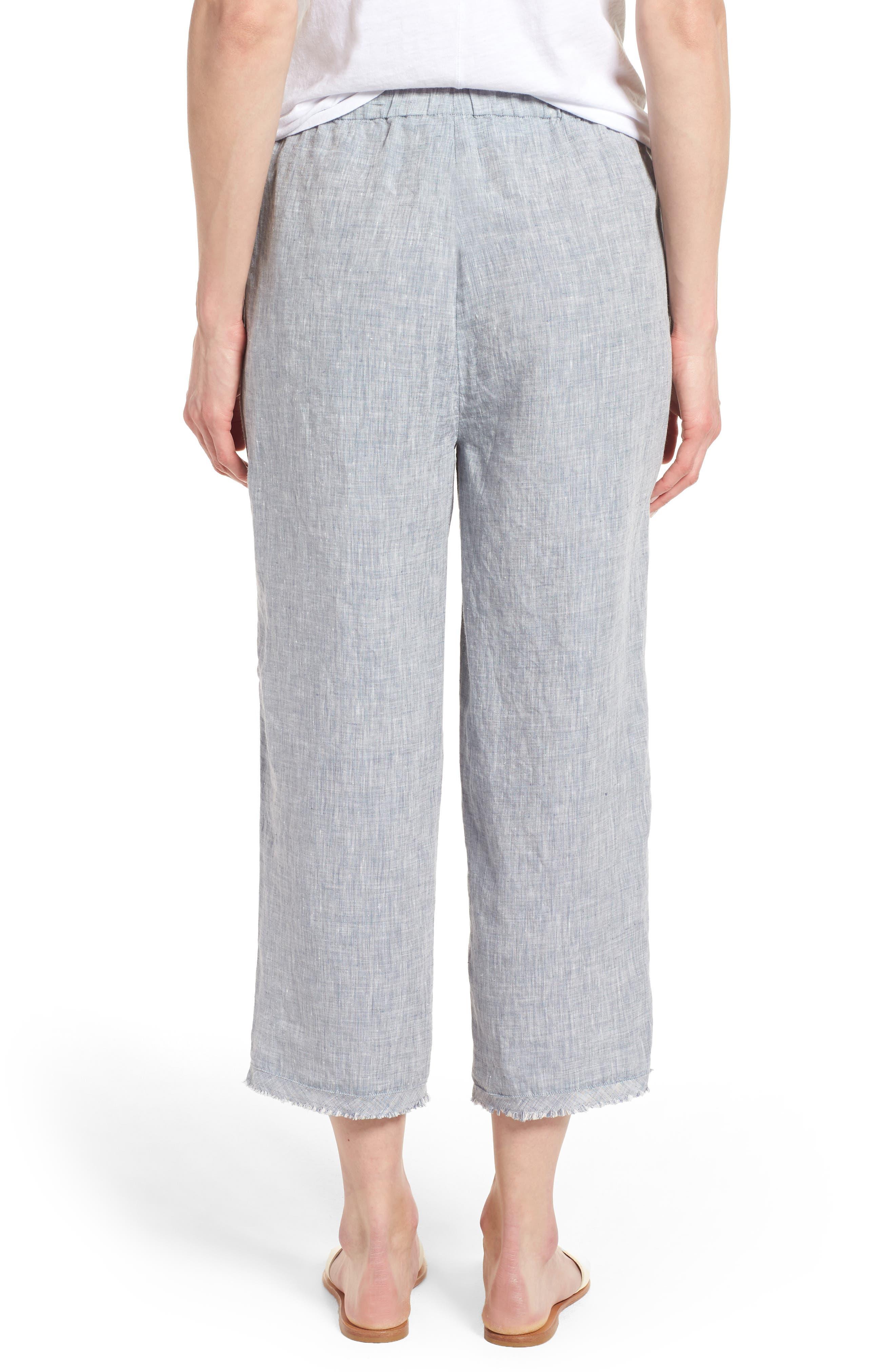 Crop Straight Leg Linen Pants,                             Alternate thumbnail 4, color,