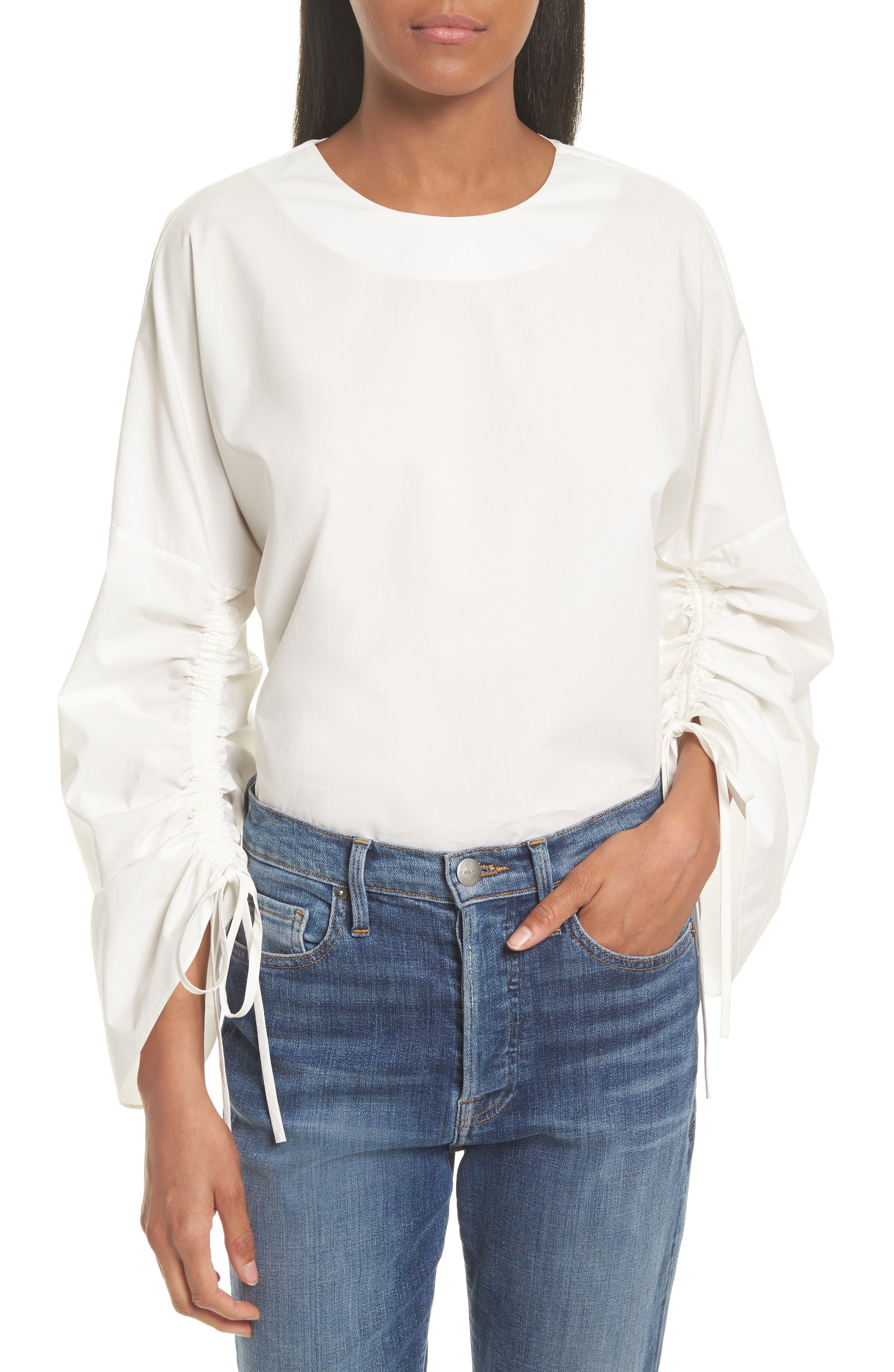 TIBI Bell Sleeve Cotton Poplin Top, Main, color, 104