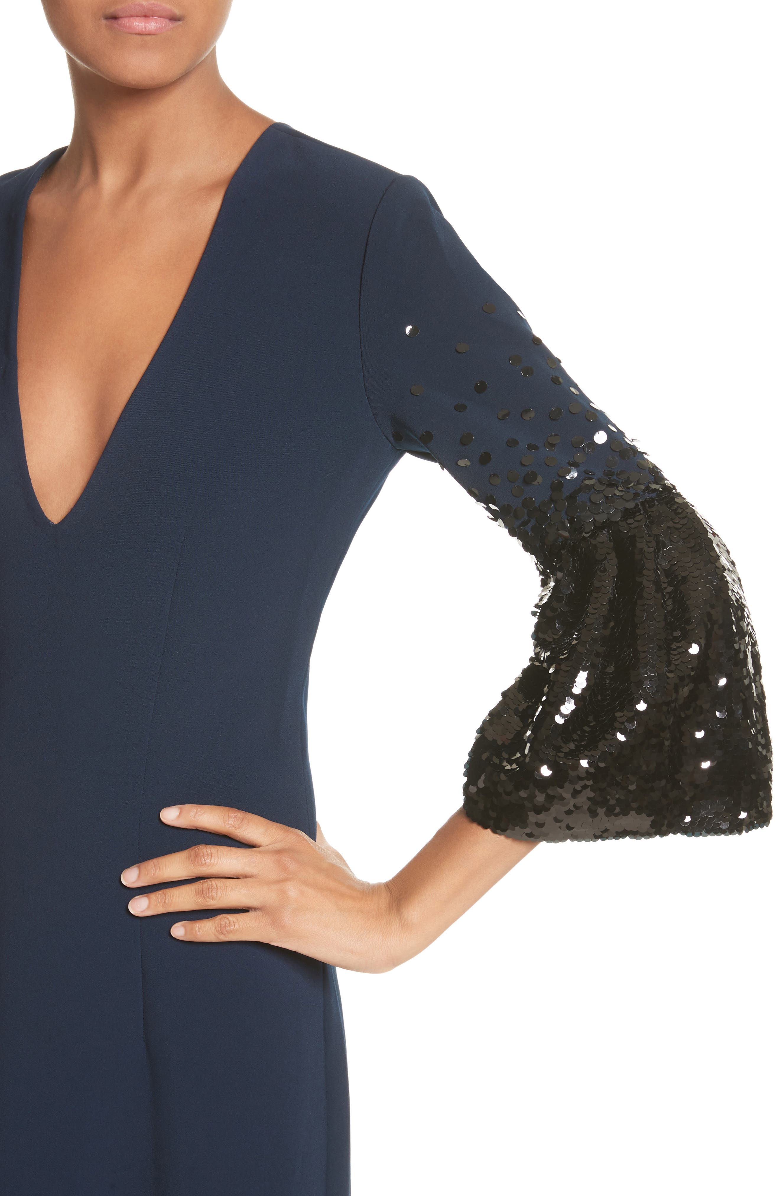 Noir Tower Embellished Sleeve Gown,                             Alternate thumbnail 4, color,                             410