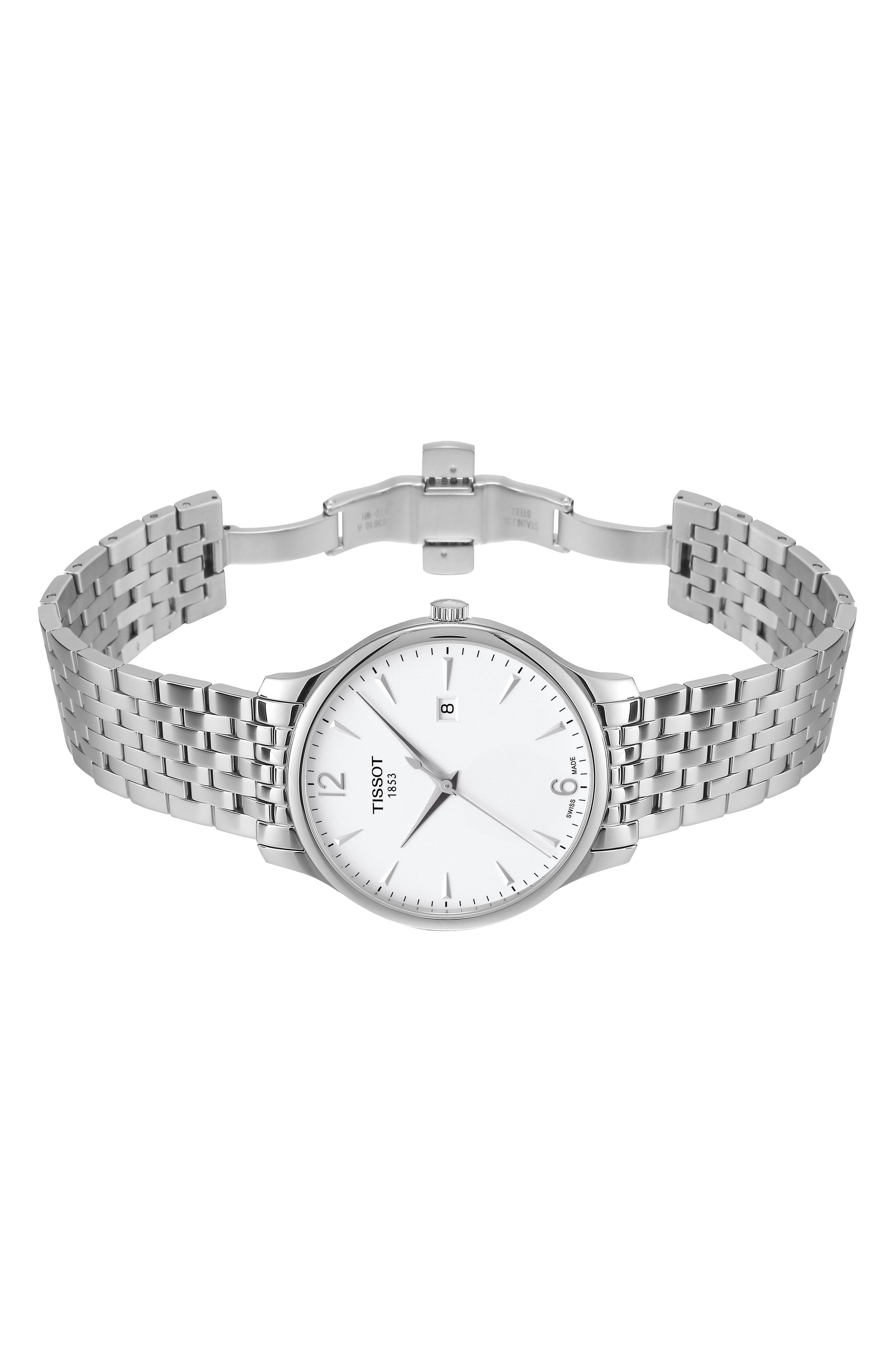 Tradition Bracelet Watch, 42mm,                             Alternate thumbnail 8, color,                             SILVER