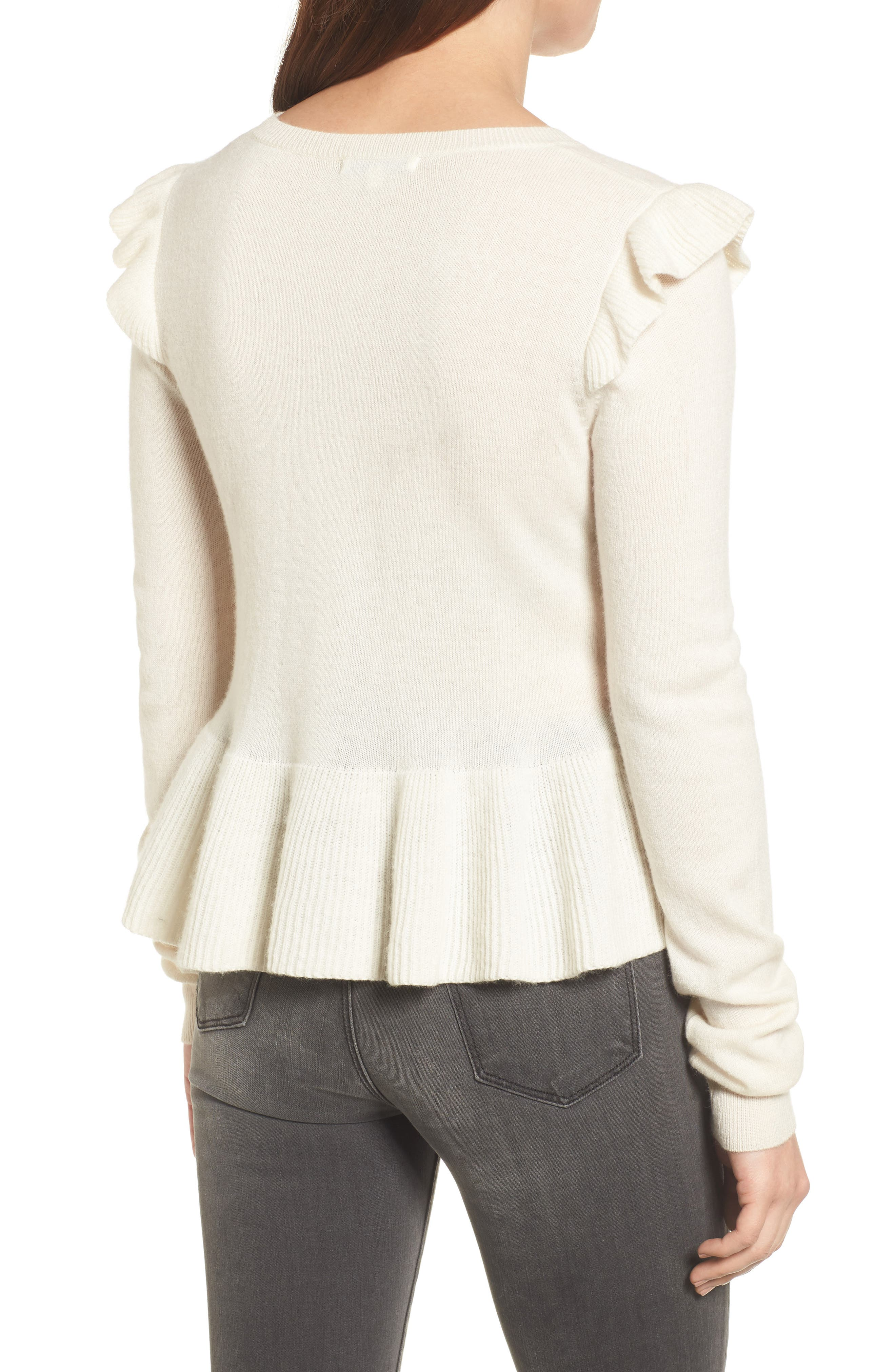 Regina Ruffle Wool & Cashmere Sweater,                             Alternate thumbnail 2, color,                             100