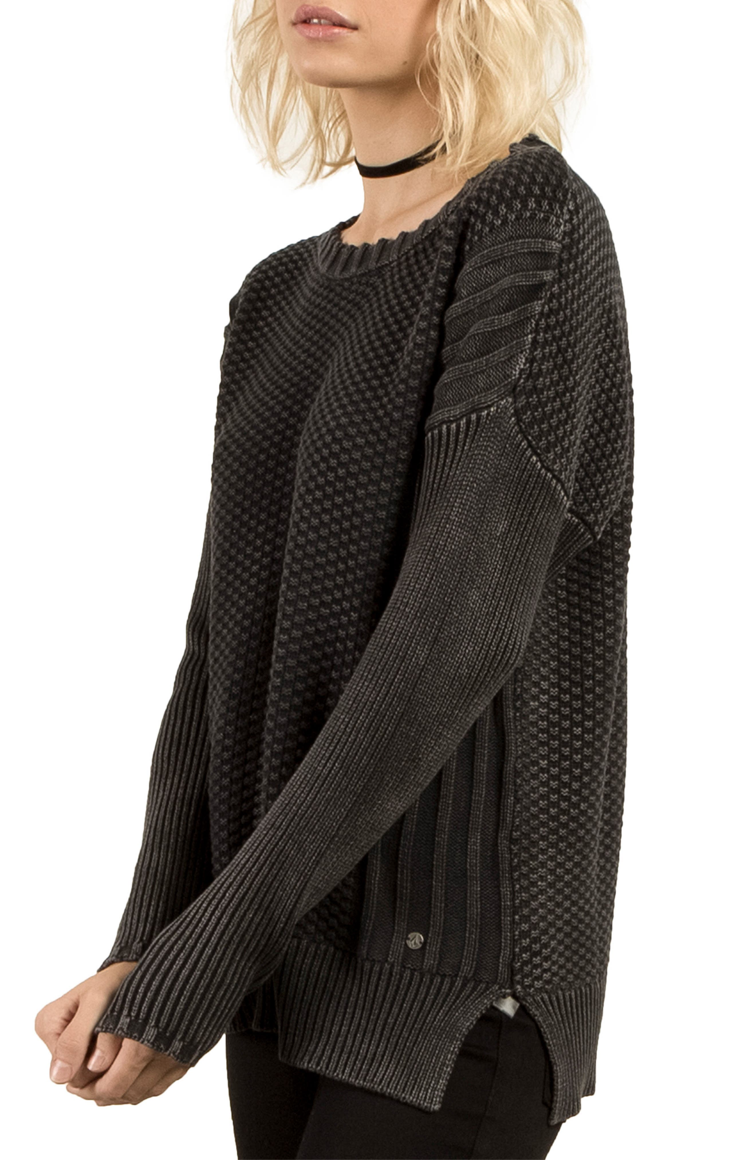 Twisted Mr Cotton Sweater,                             Alternate thumbnail 3, color,                             001