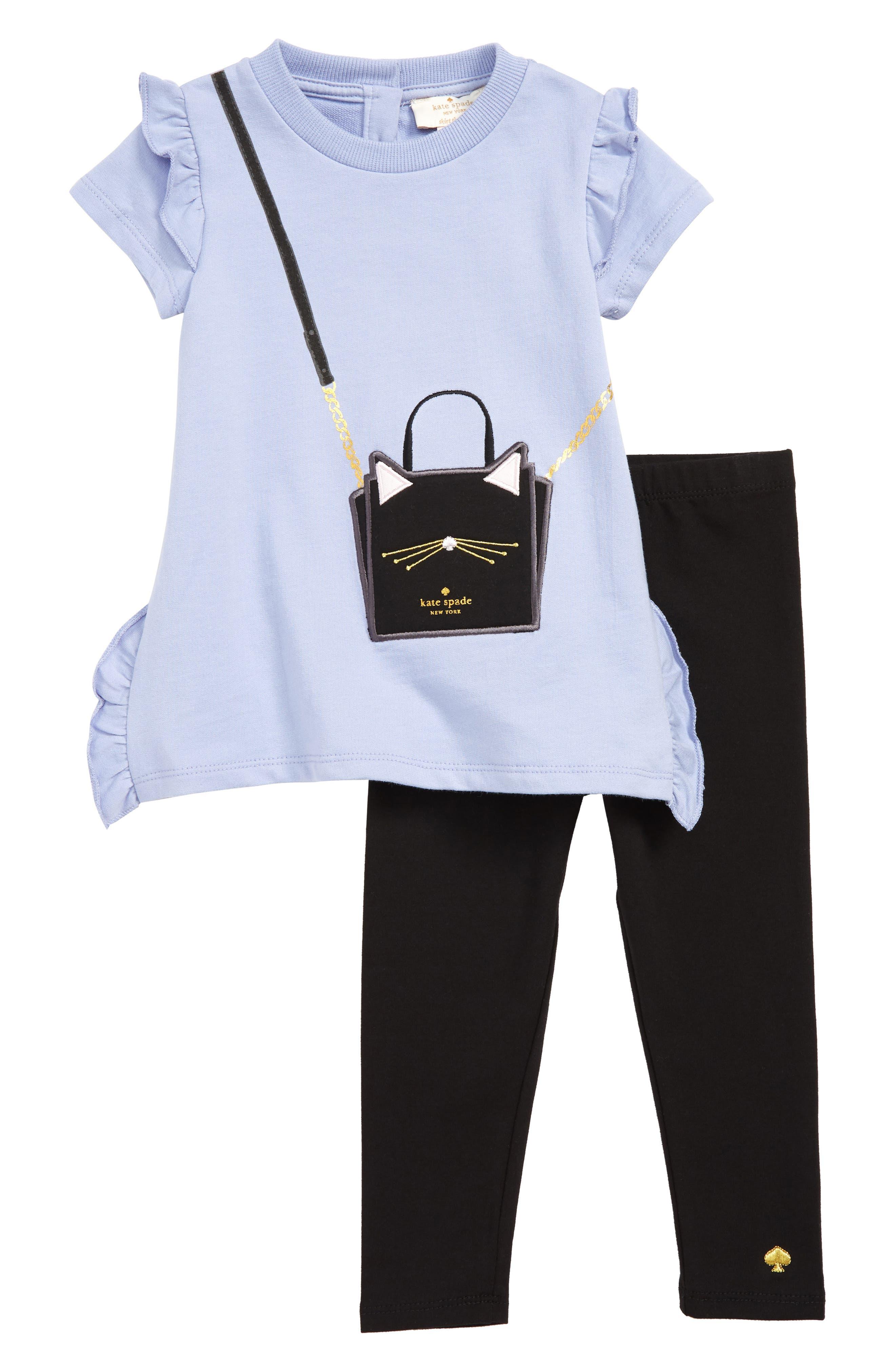 cat handbag tunic & leggings set,                             Main thumbnail 1, color,                             THISTLE