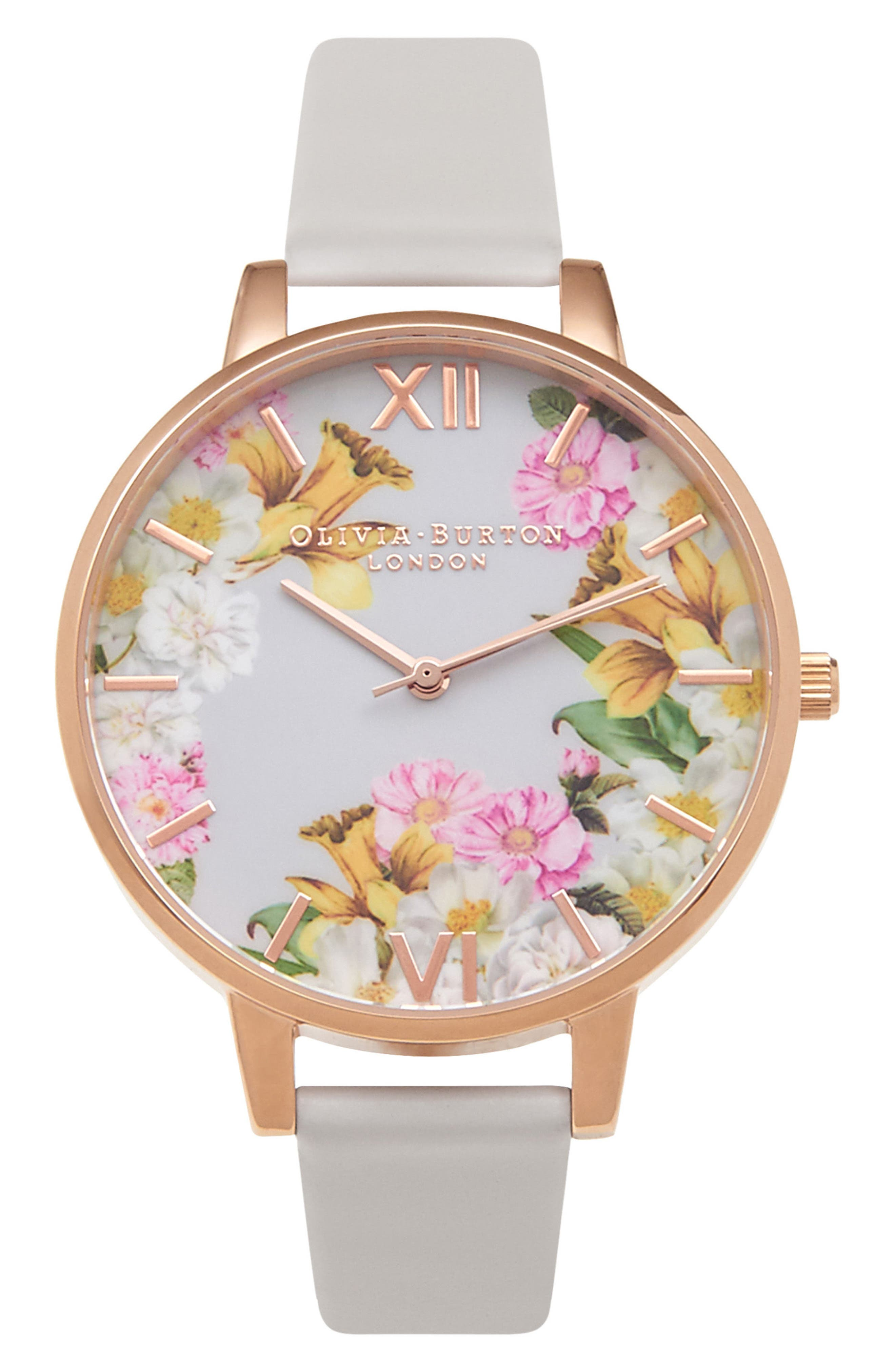 Flower Show Leather Strap Watch, 38mm,                         Main,                         color, BLUSH/ FLORAL/ ROSE GOLD