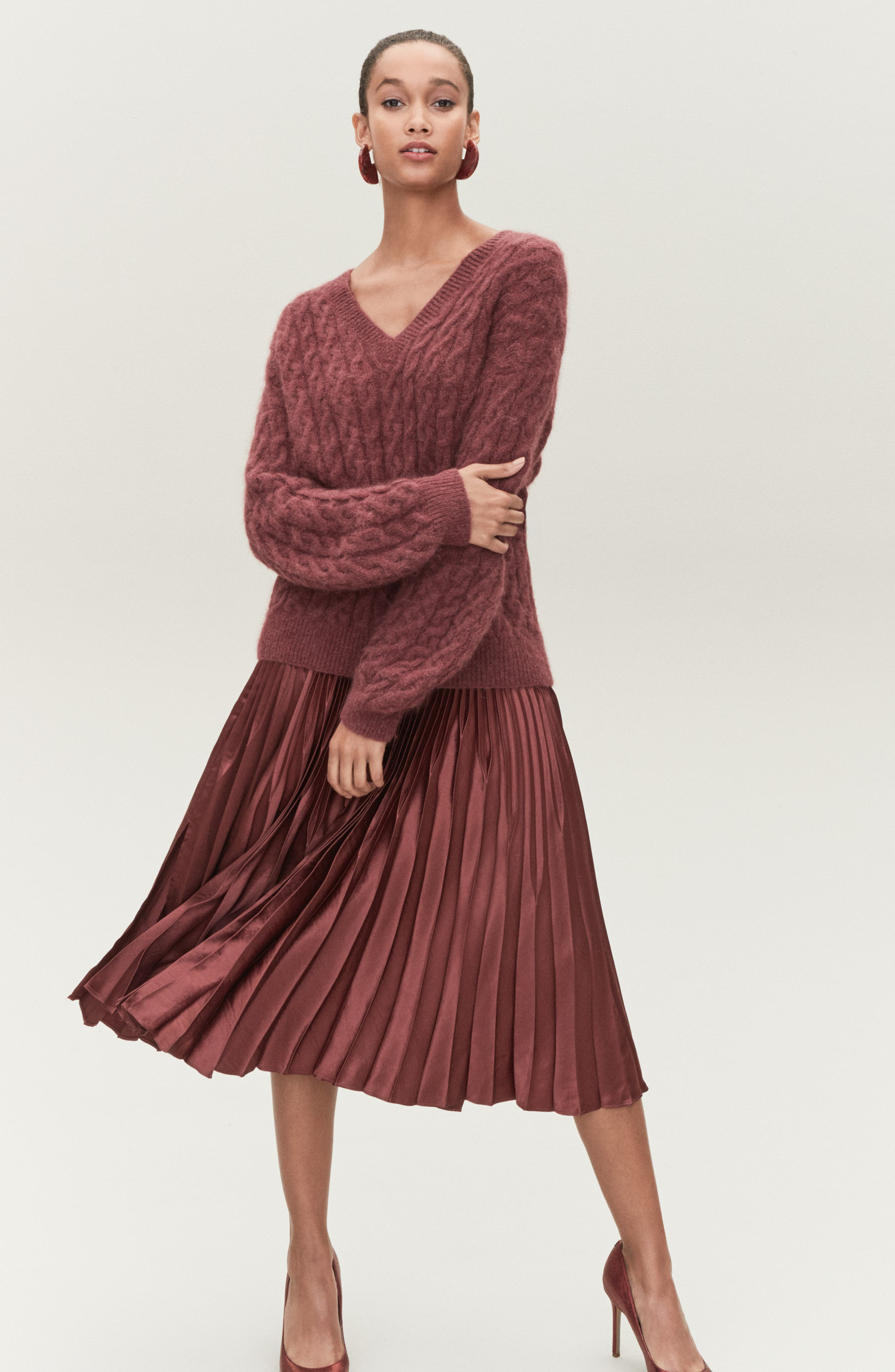 Cable Knit Sweater,                             Alternate thumbnail 8, color,                             ANISE