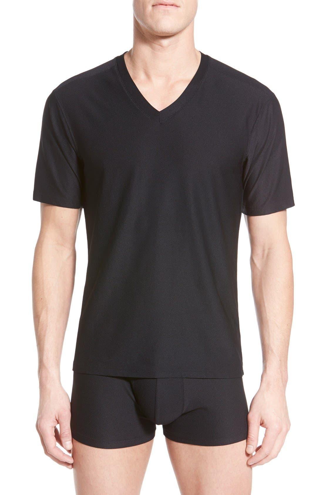 'Give-N-Go' Mesh V-Neck T-Shirt,                             Main thumbnail 1, color,                             BLACK