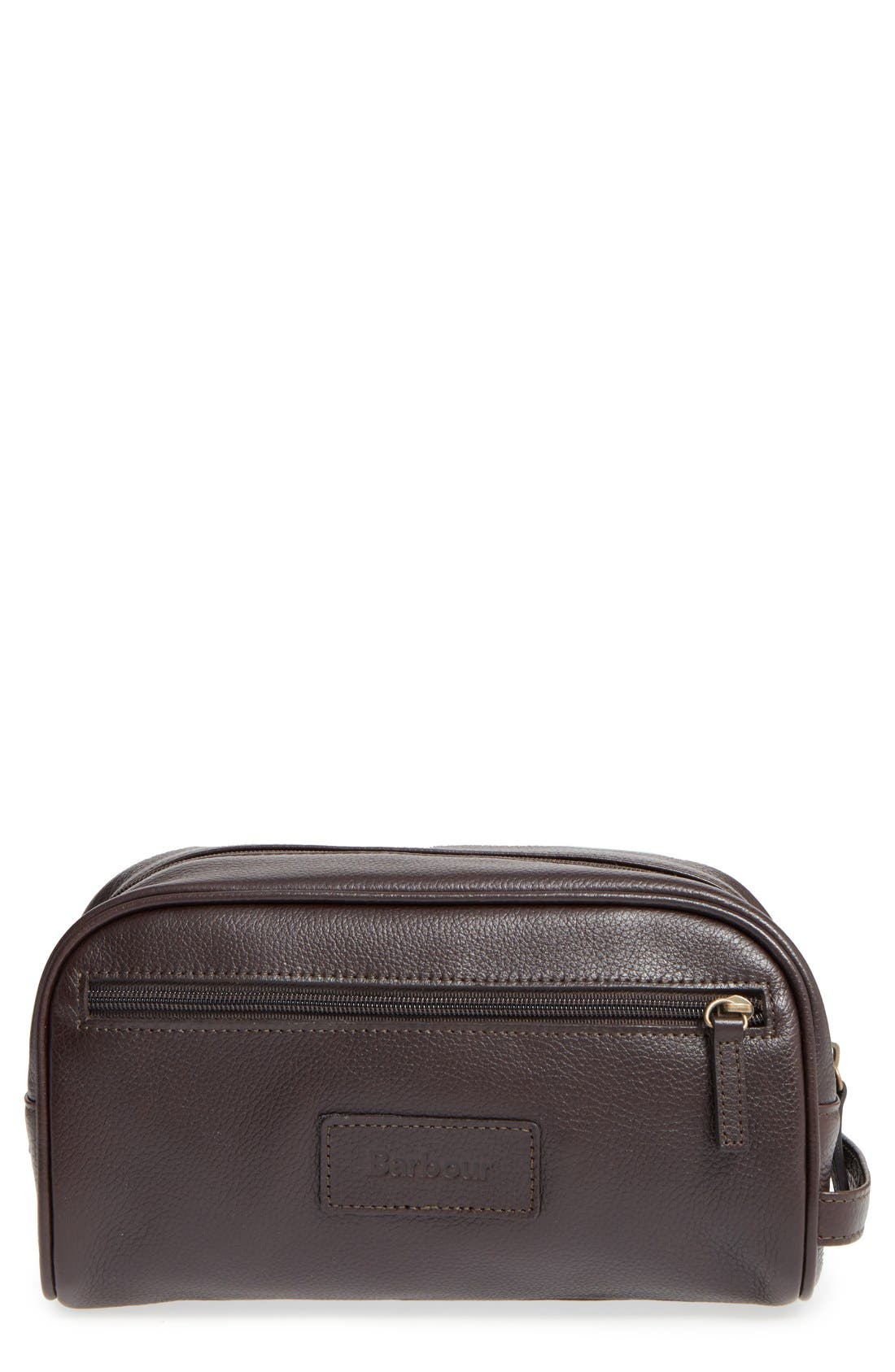 Leather Travel Kit,                         Main,                         color, DARK BROWN