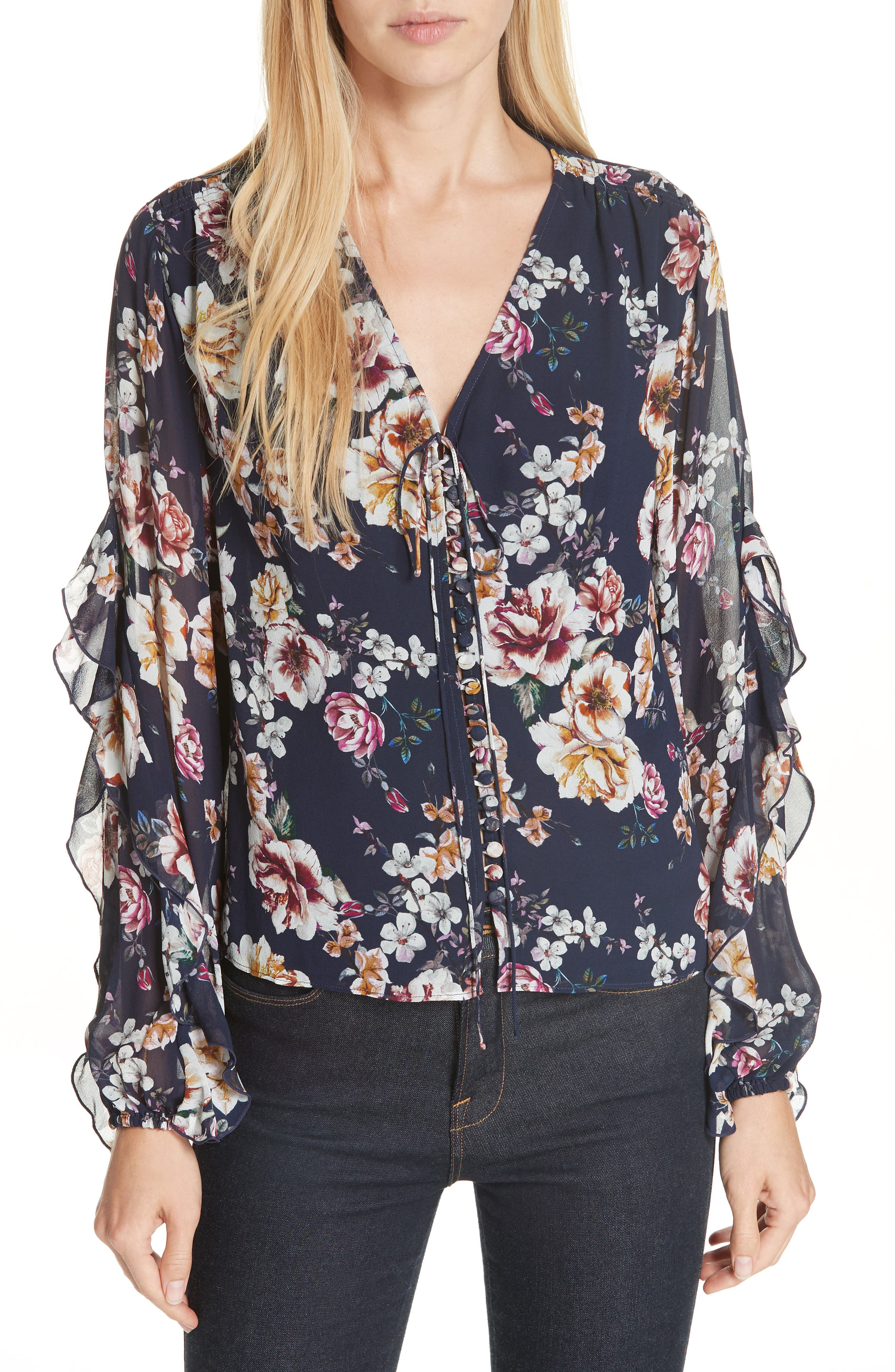 Garden Rose Silk Blouse,                         Main,                         color, NAVY