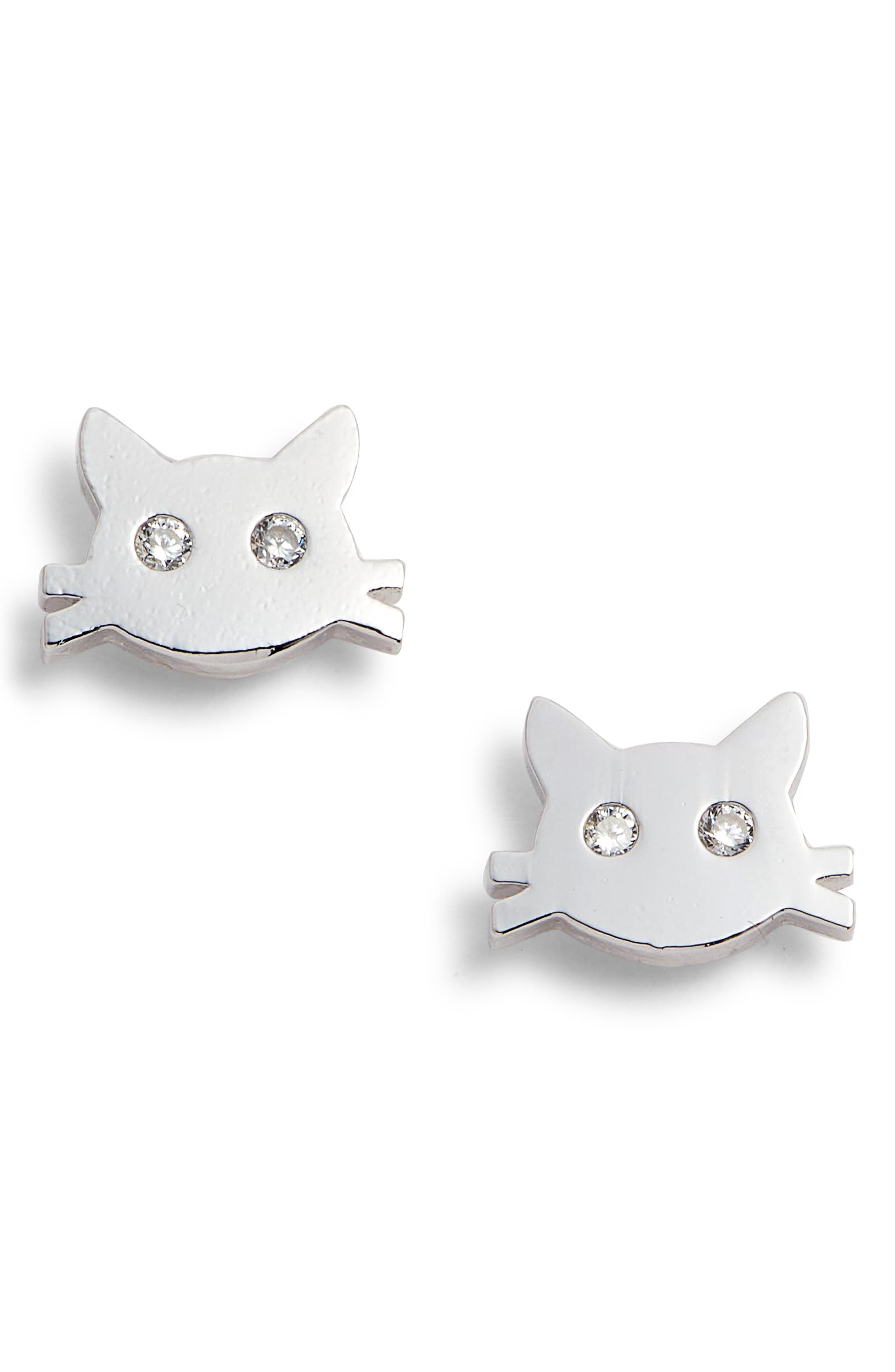 Crystal Cat Stud Earrings,                         Main,                         color, SILVER