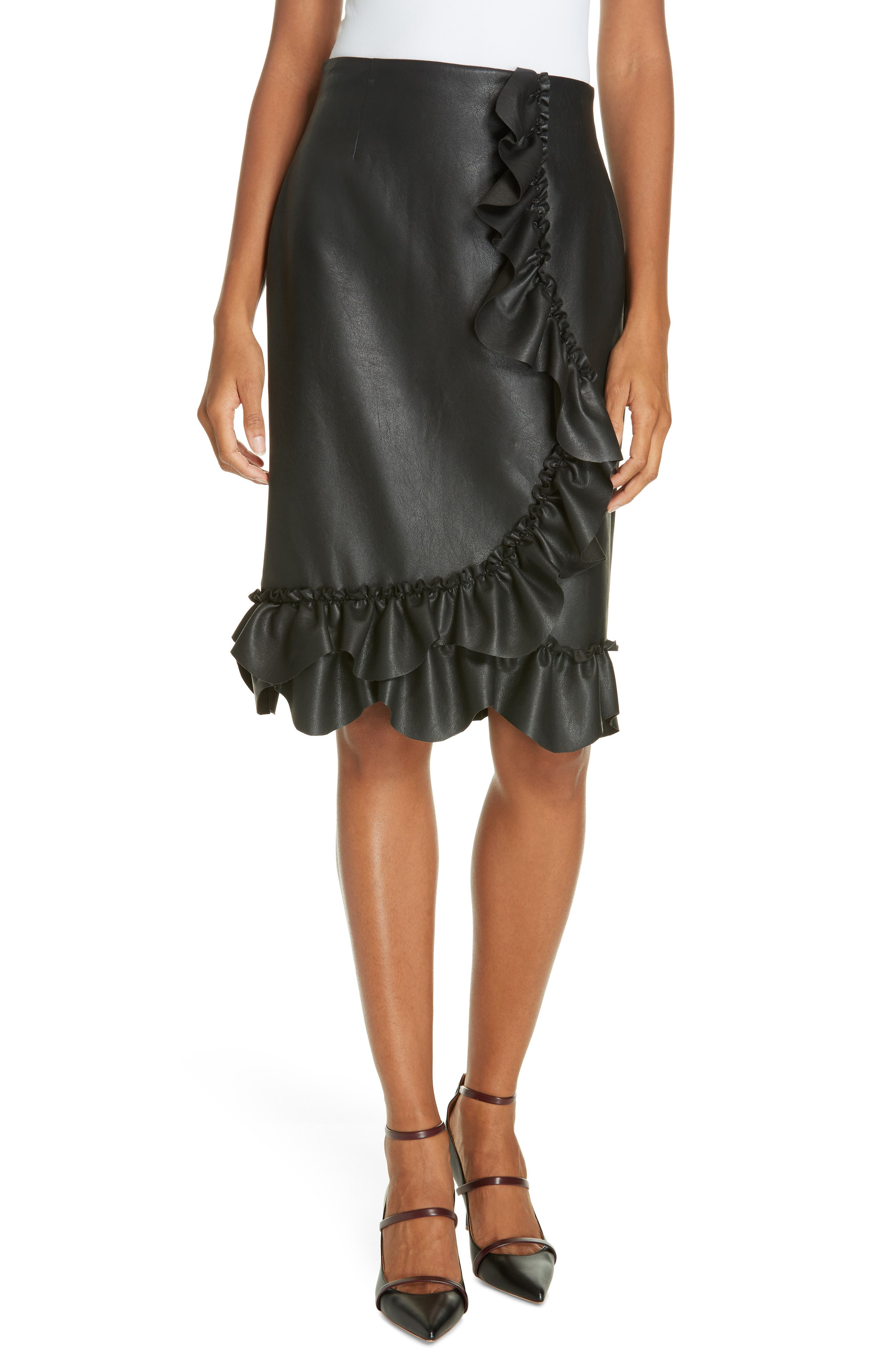 Faux Leather Ruffle Skirt,                             Main thumbnail 1, color,                             BLACK