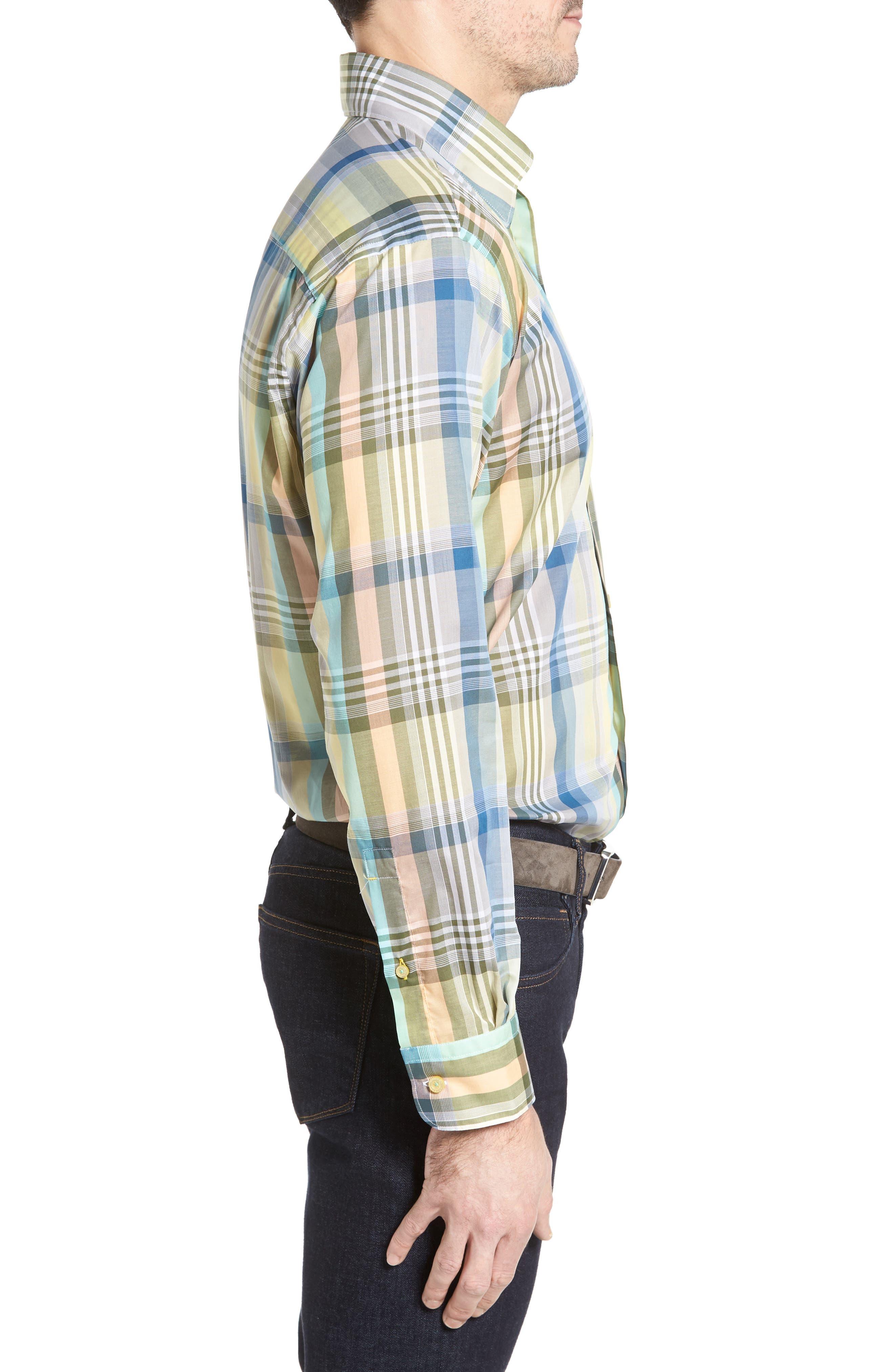 Anderson Classic Fit Plaid Sport Shirt,                             Alternate thumbnail 3, color,                             960