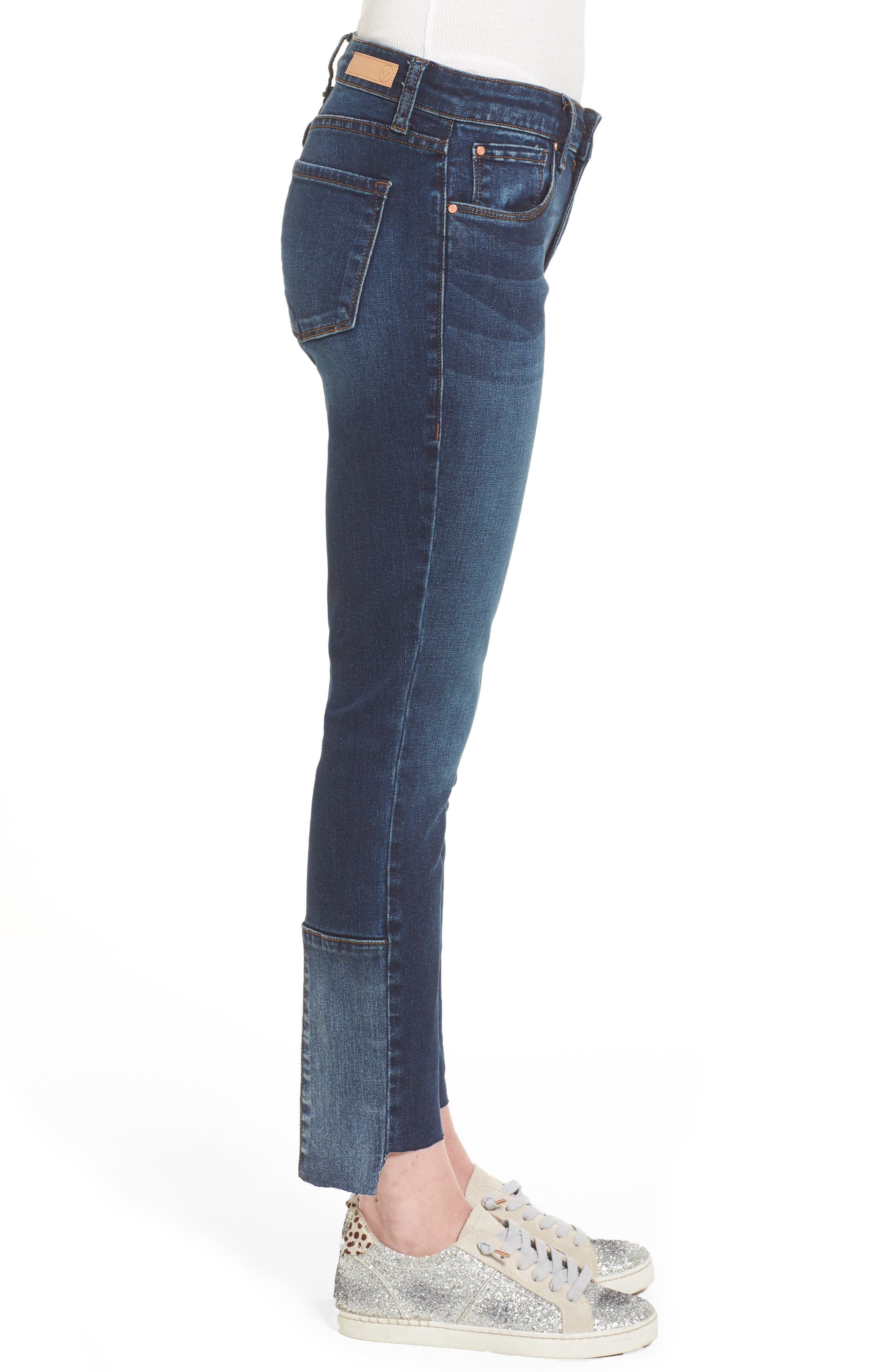 Patch Detail Step Hem Skinny Jeans,                             Alternate thumbnail 3, color,                             420