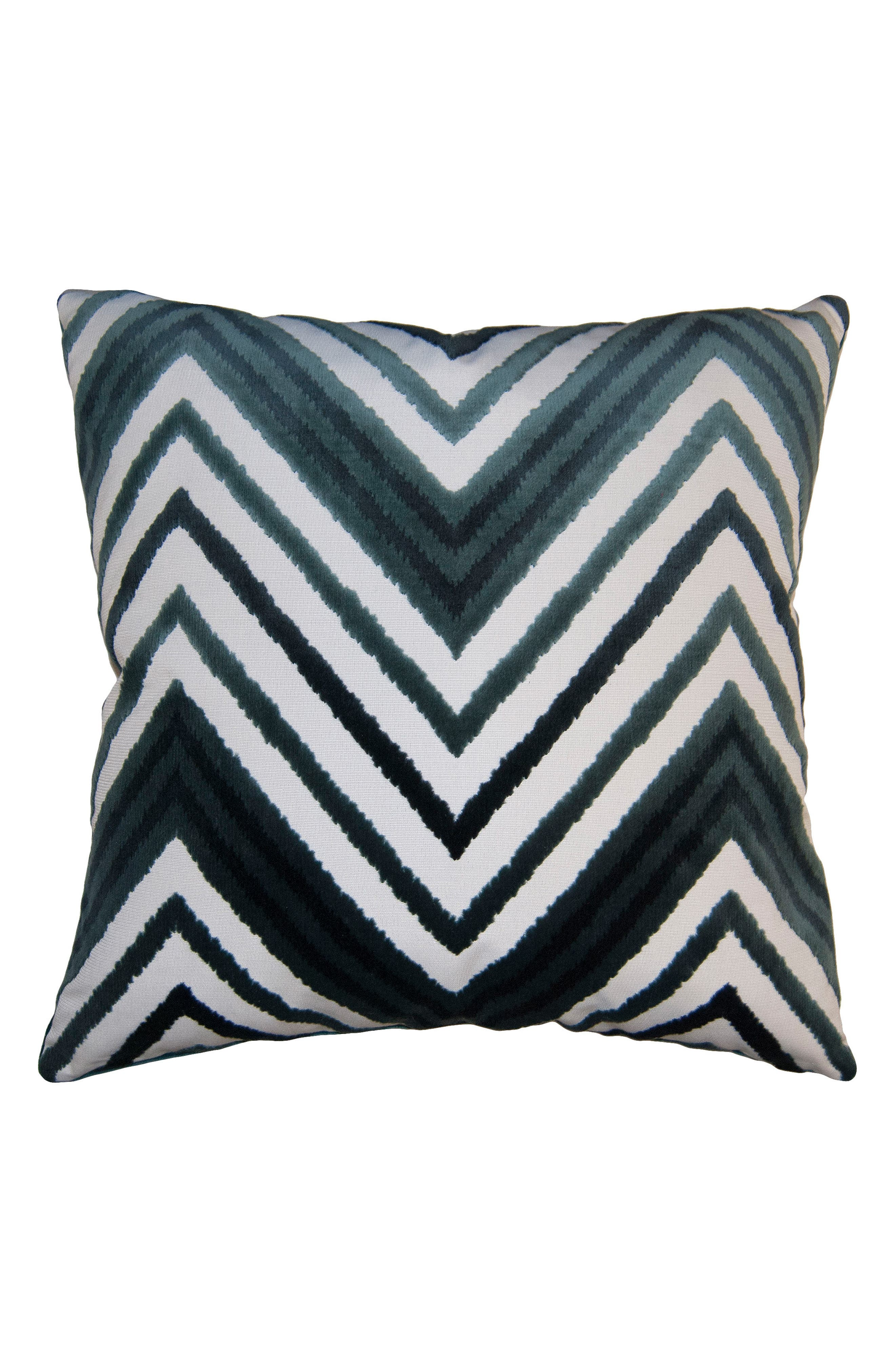 SQUARE FEATHERS,                             Sky Chevron Accent Pillow,                             Main thumbnail 1, color,                             BLUE