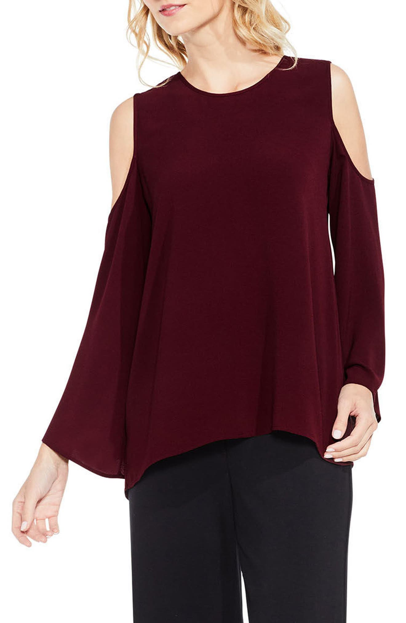 Bell Sleeve Cold Shoulder Blouse,                             Main thumbnail 4, color,