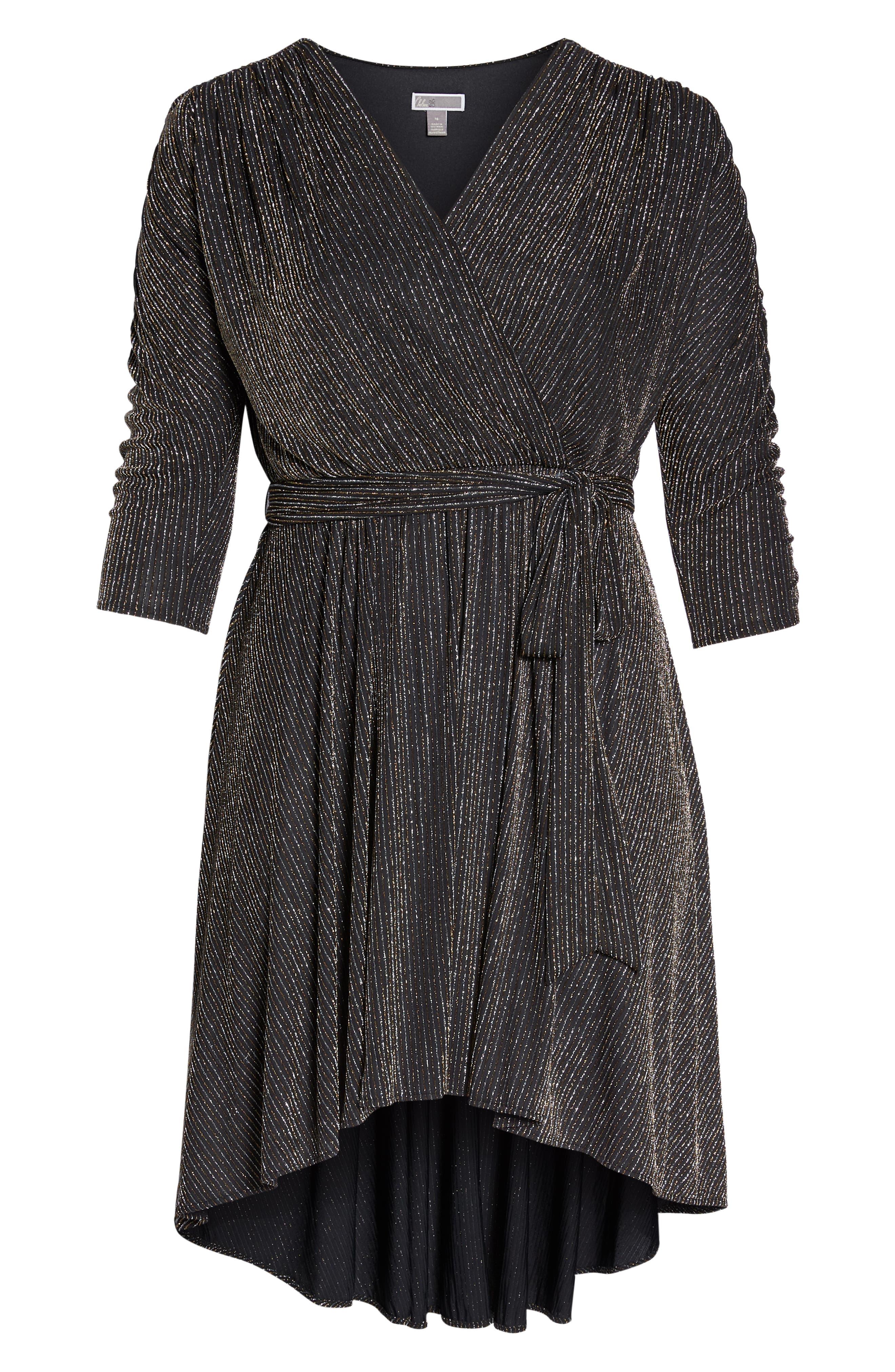 CHELSEA28,                             Metallic Tie Waist Dress,                             Alternate thumbnail 6, color,                             001