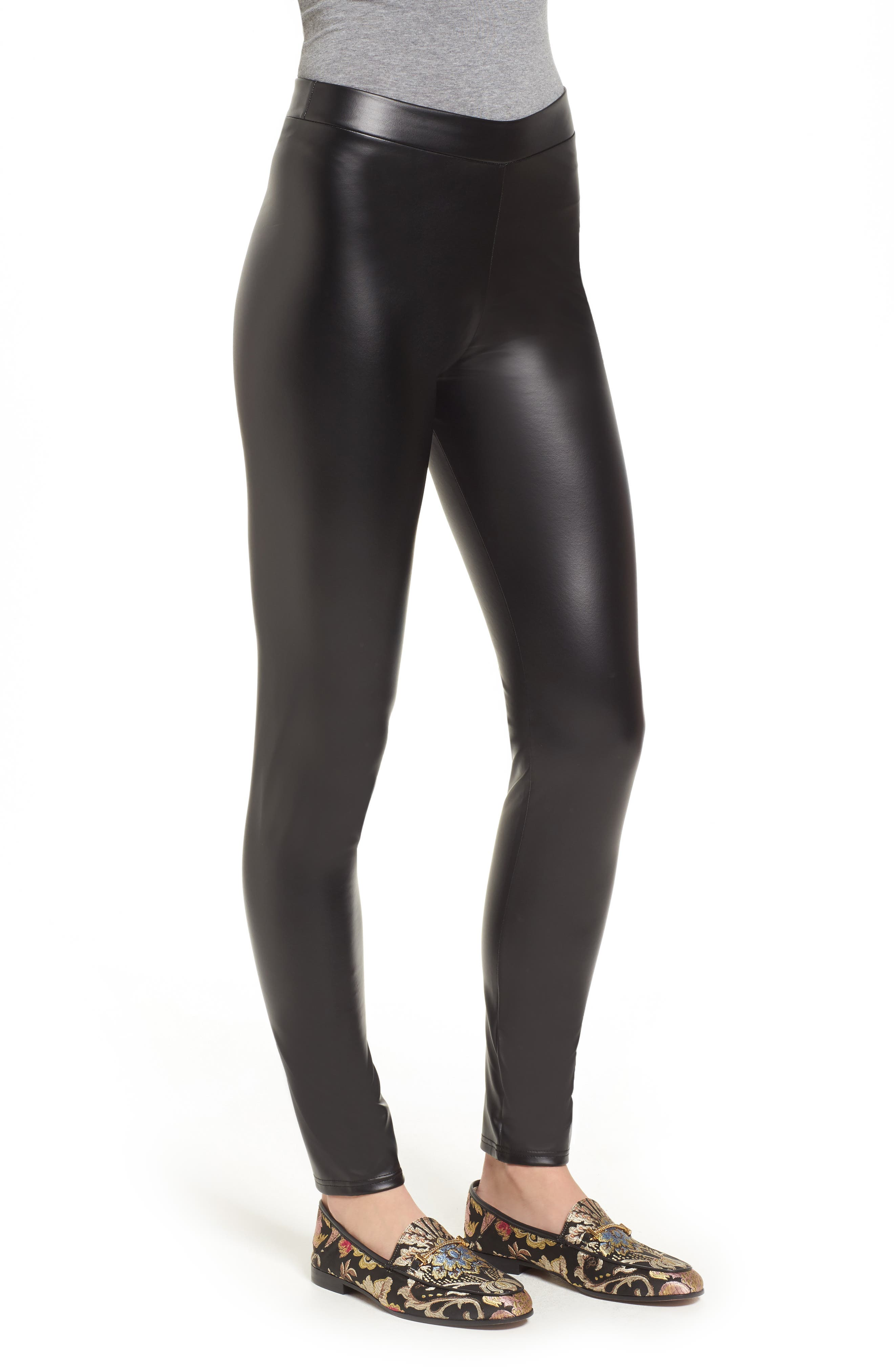 Plush Lined Faux Leather Leggings,                             Alternate thumbnail 3, color,                             001