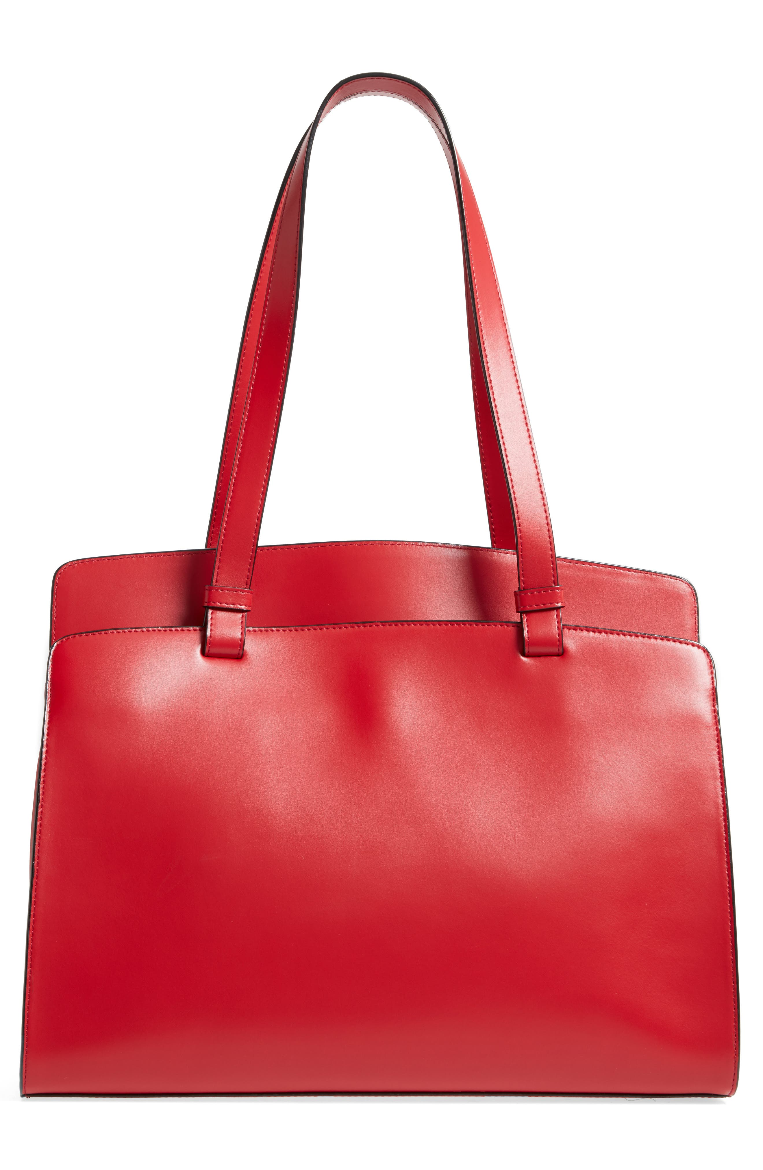 Audrey Under Lock & Key - Jana RFID Leather Tote,                             Alternate thumbnail 3, color,                             RED