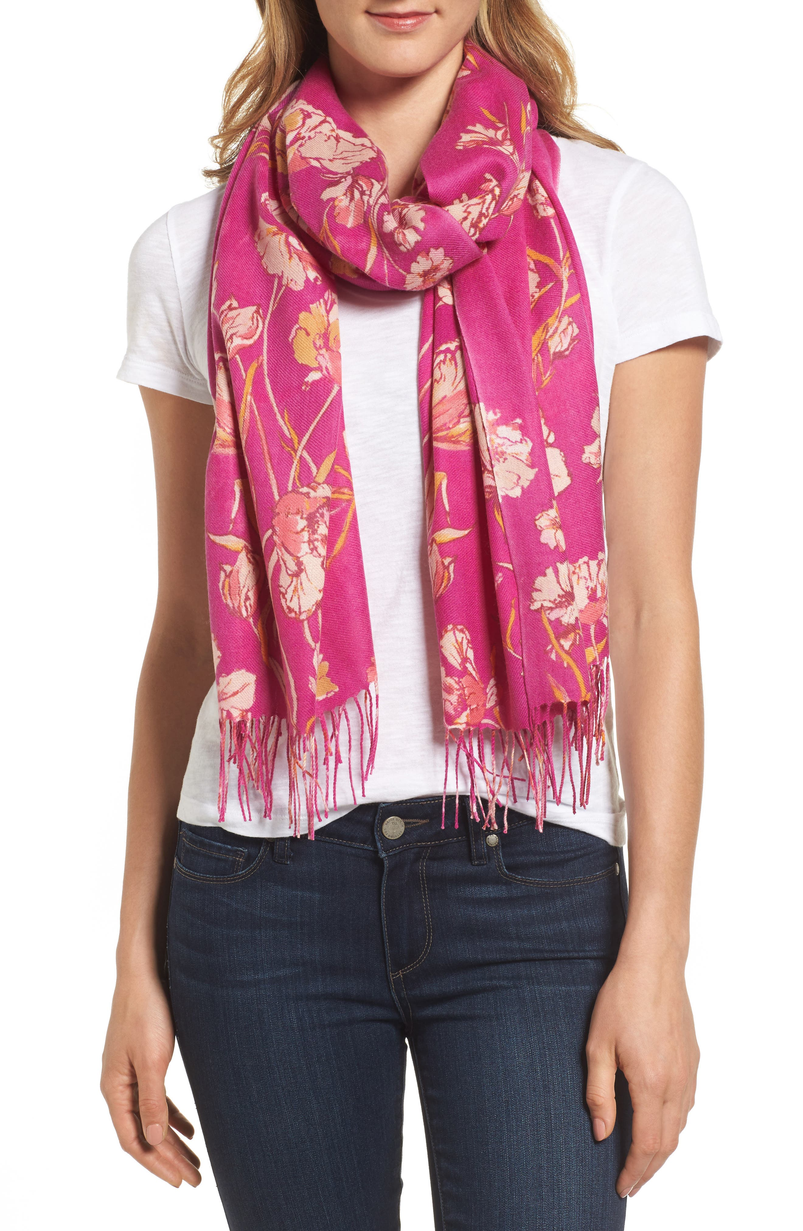 Cambridge Print Wool & Cashmere Scarf,                             Main thumbnail 3, color,