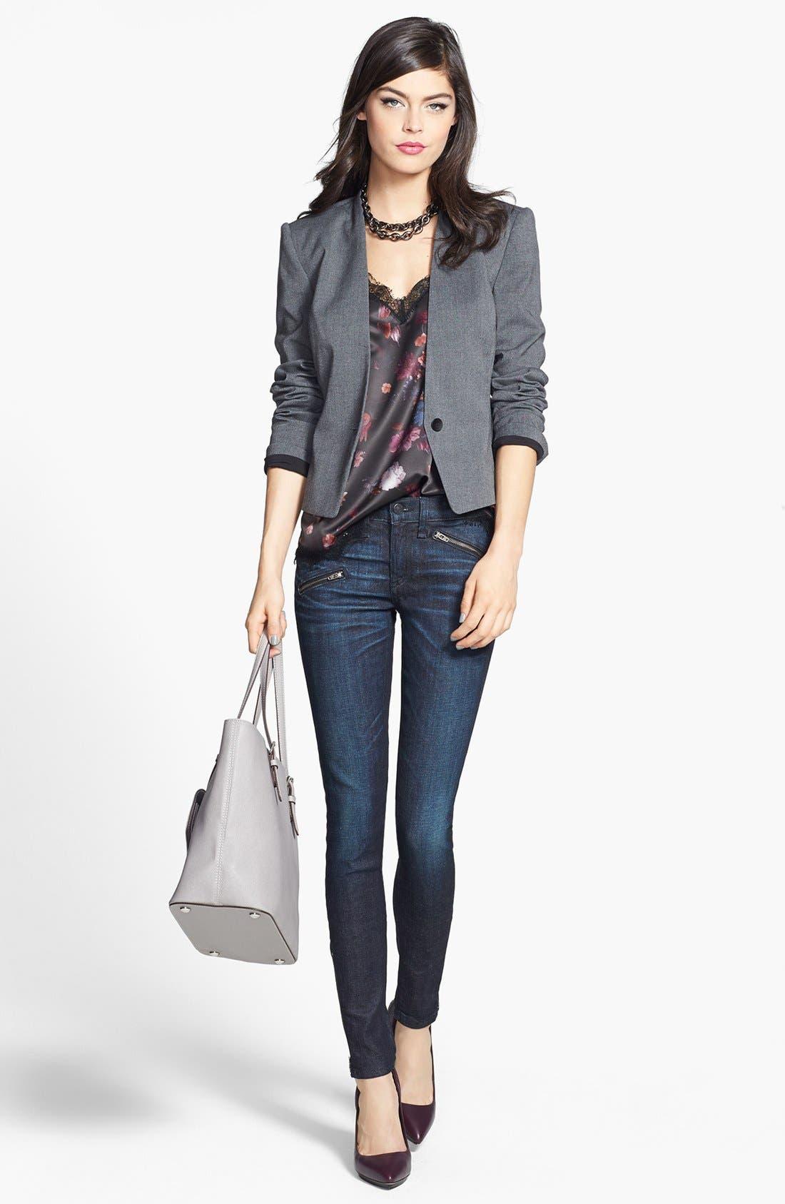 Zip Detail Skinny Jeans,                             Alternate thumbnail 4, color,                             400