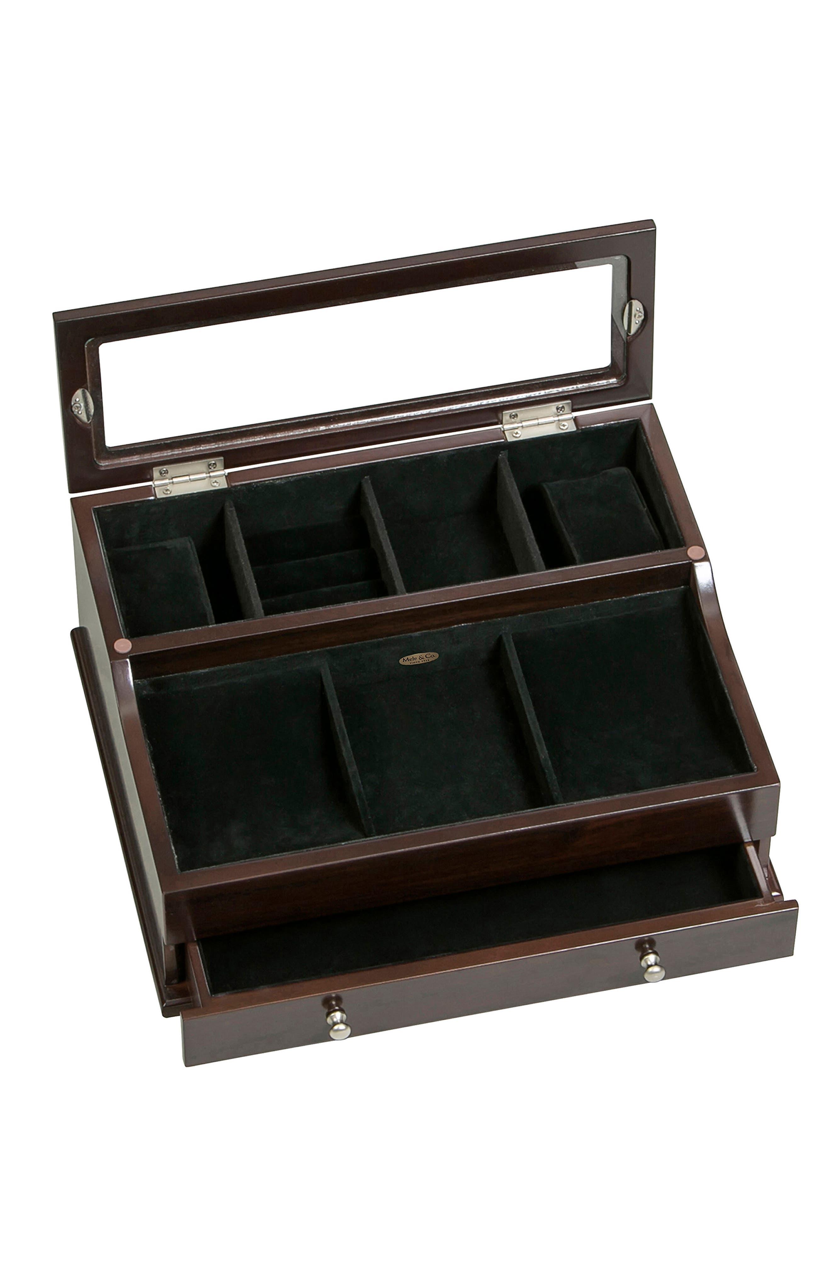 Hampden Glass Top Valet Box,                             Alternate thumbnail 4, color,                             BROWN