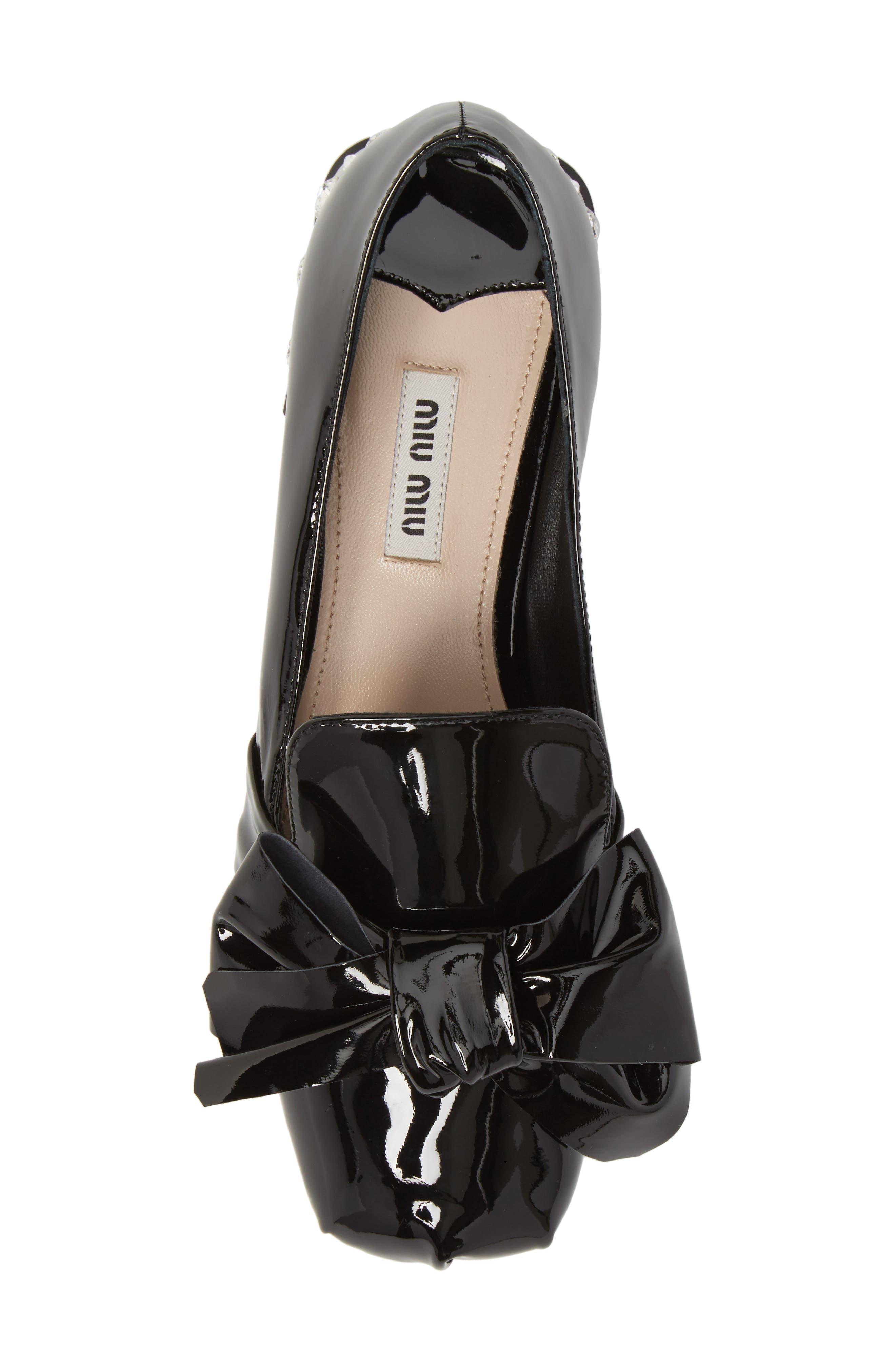 Embellished Heel Bow Loafer,                             Alternate thumbnail 5, color,                             BLACK