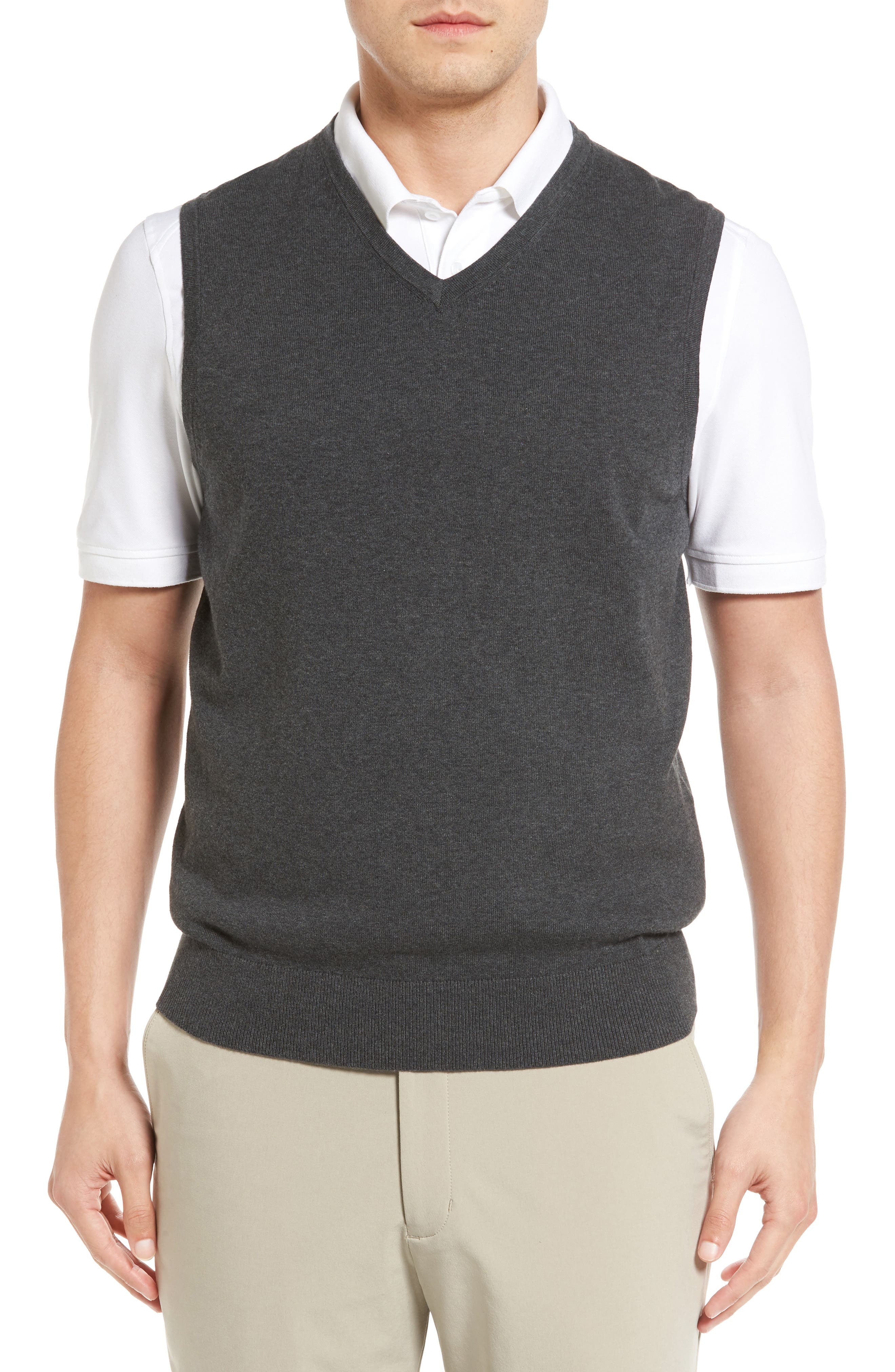 Lakemont V-Neck Sweater Vest, Main, color, CHARCOAL HEATHER