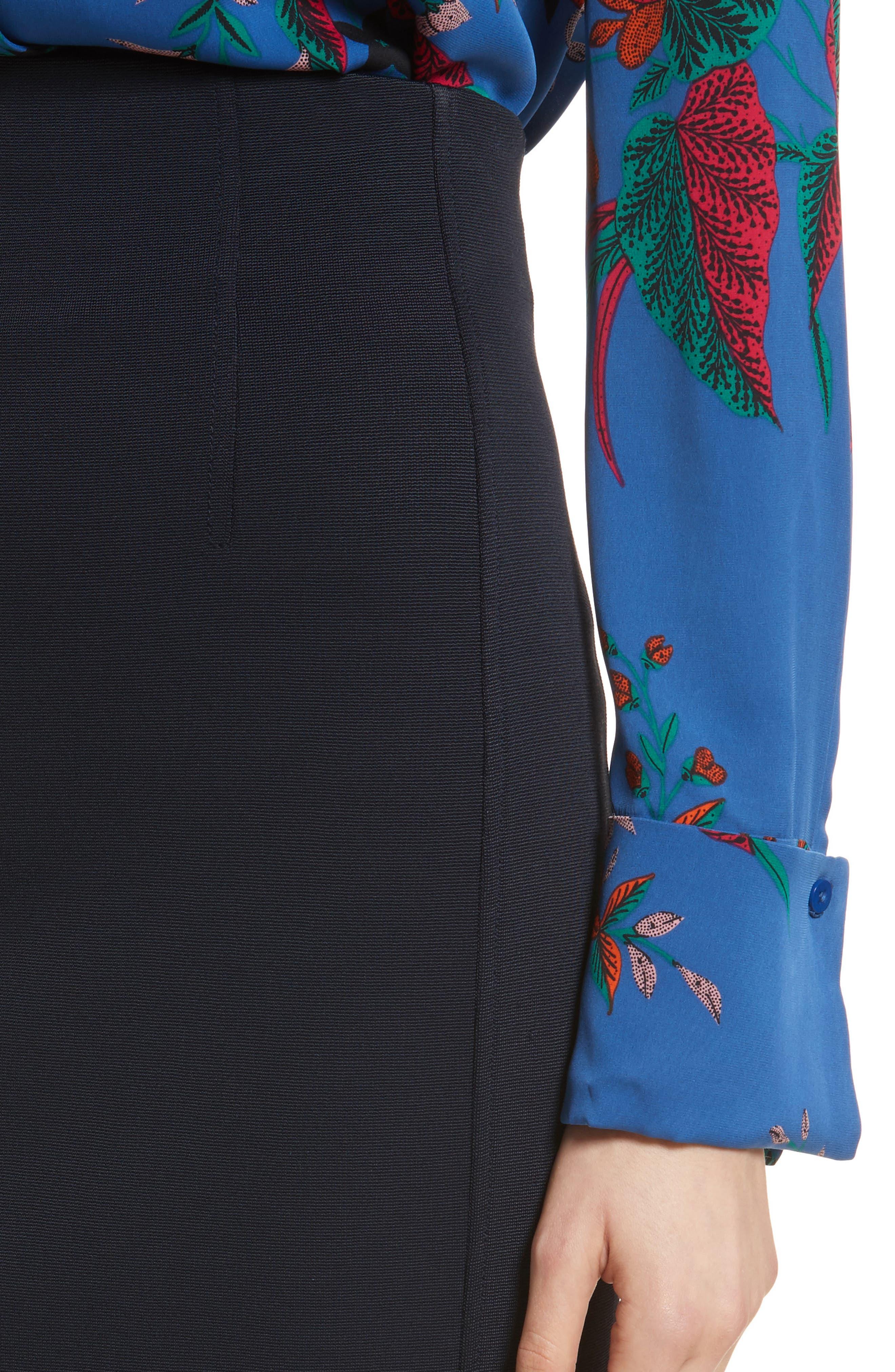 Diane von Furstenberg Fitted Midi Skirt,                             Alternate thumbnail 4, color,