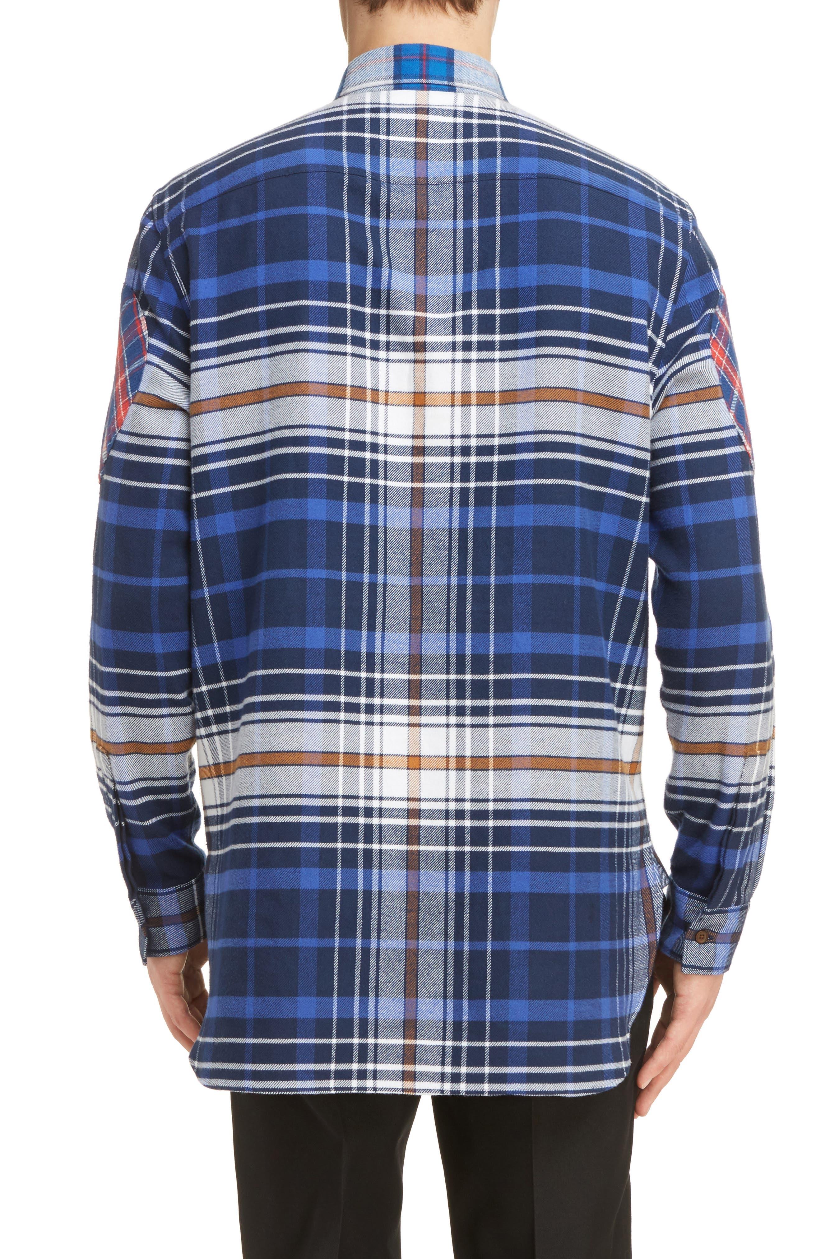 Cuban Fit Pieced Flannel Shirt,                             Alternate thumbnail 3, color,                             400