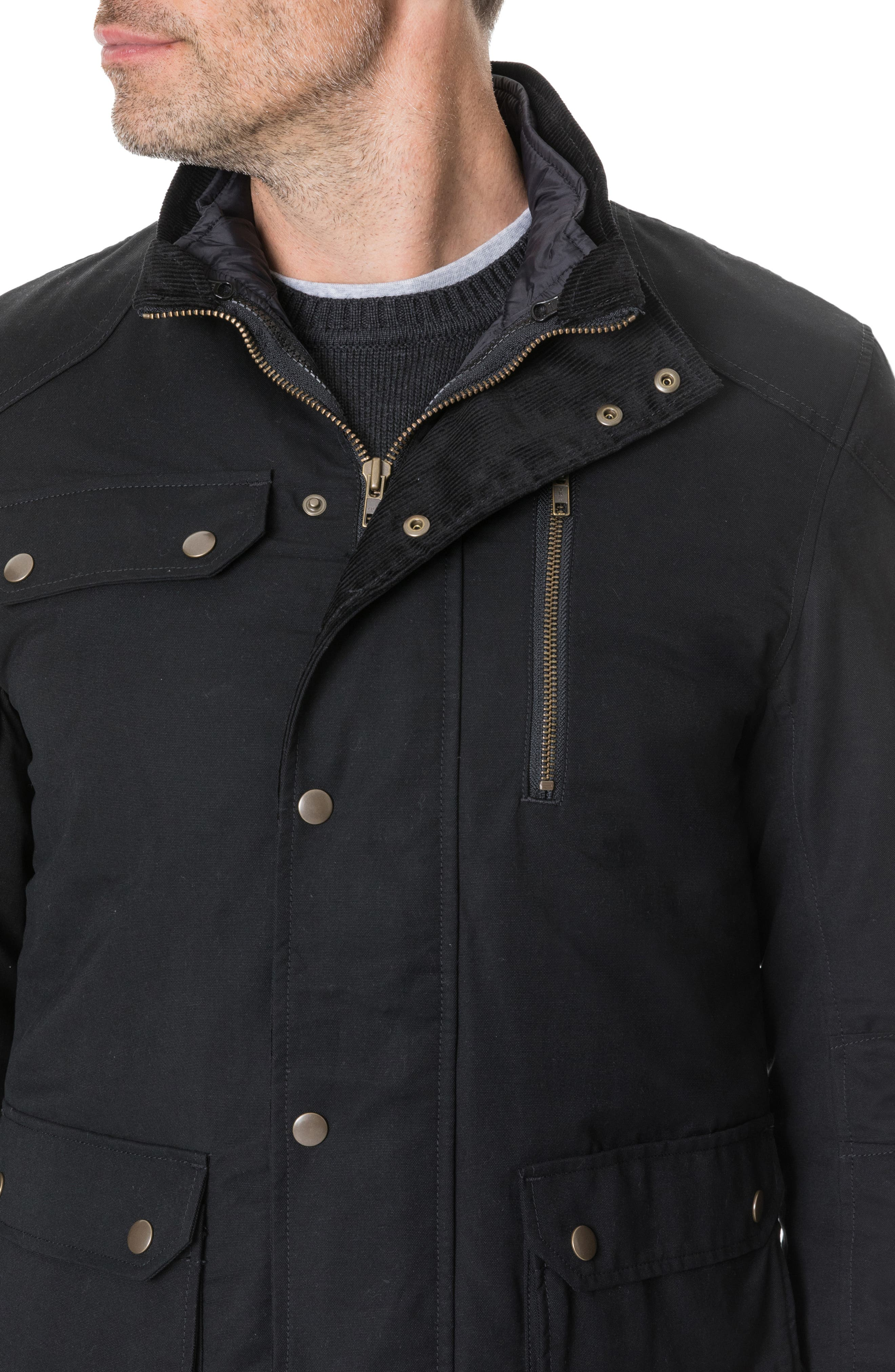'Harper' Water Resistant 3-in-1 Waxed Canvas Jacket,                             Alternate thumbnail 9, color,                             ONYX
