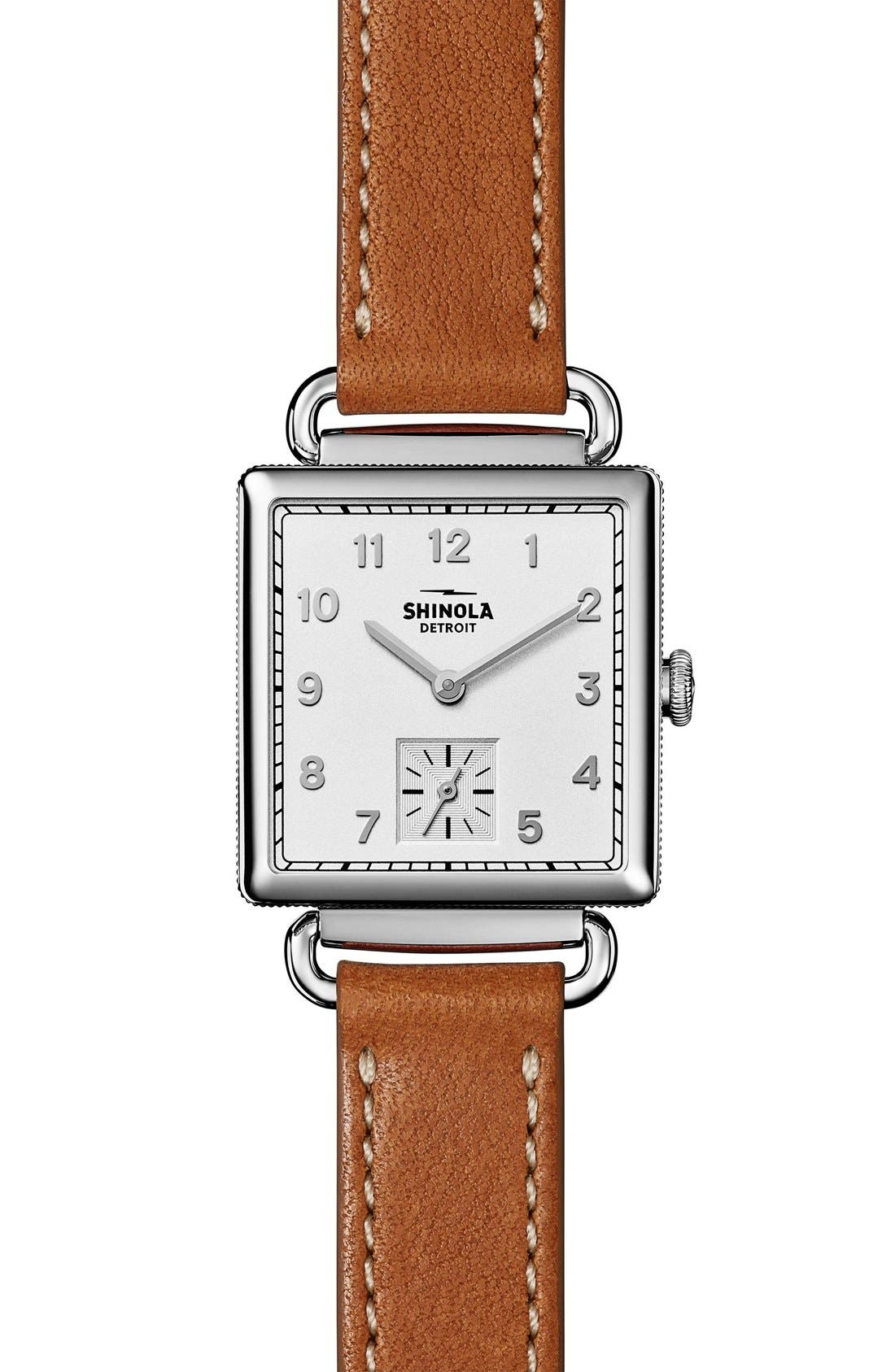 Cass Leather Strap Watch, 28mm,                             Alternate thumbnail 4, color,                             BROWN/ SILVER