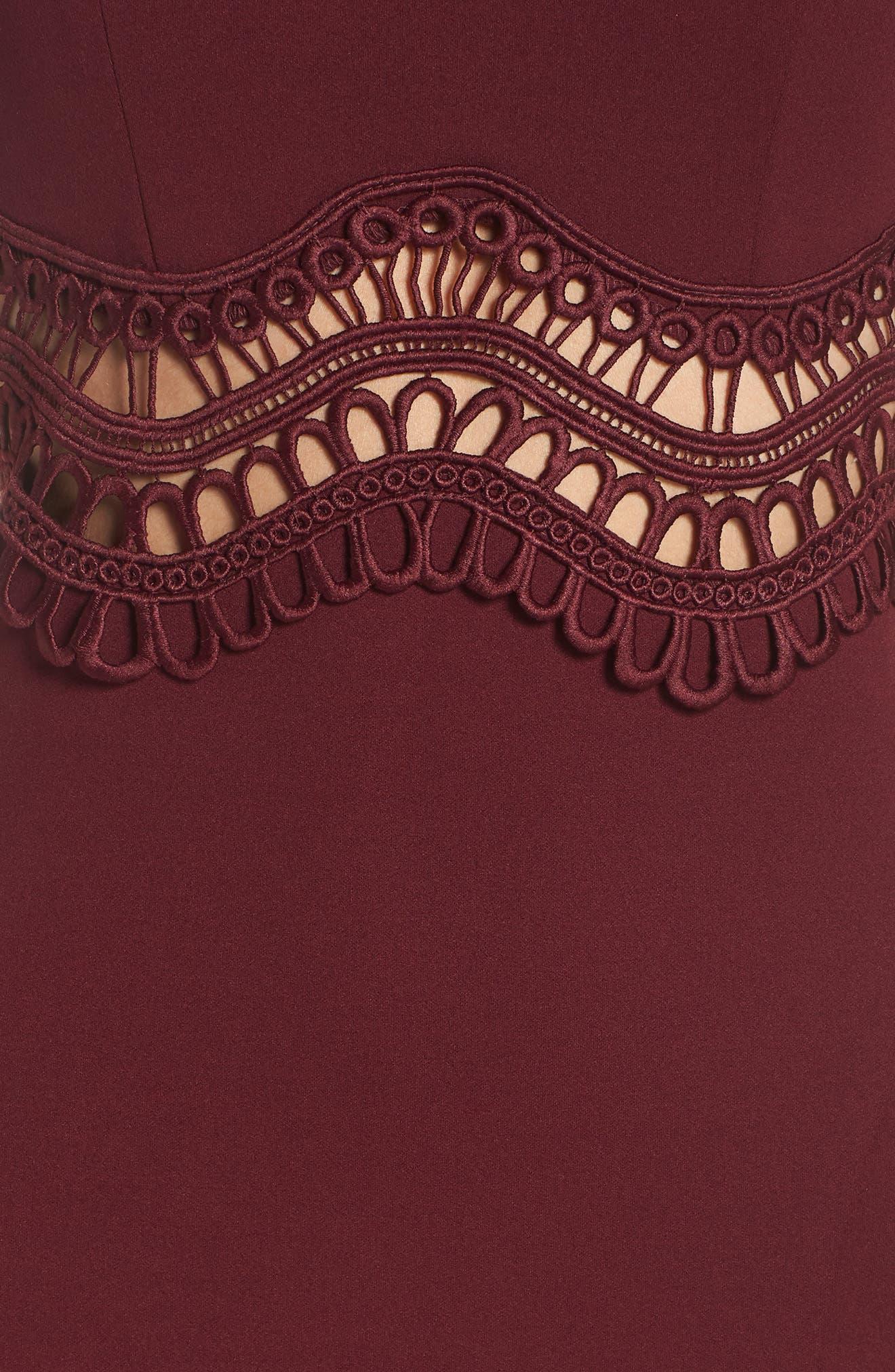 Front Slit Scuba Crepe Gown,                             Alternate thumbnail 6, color,                             MALBEC