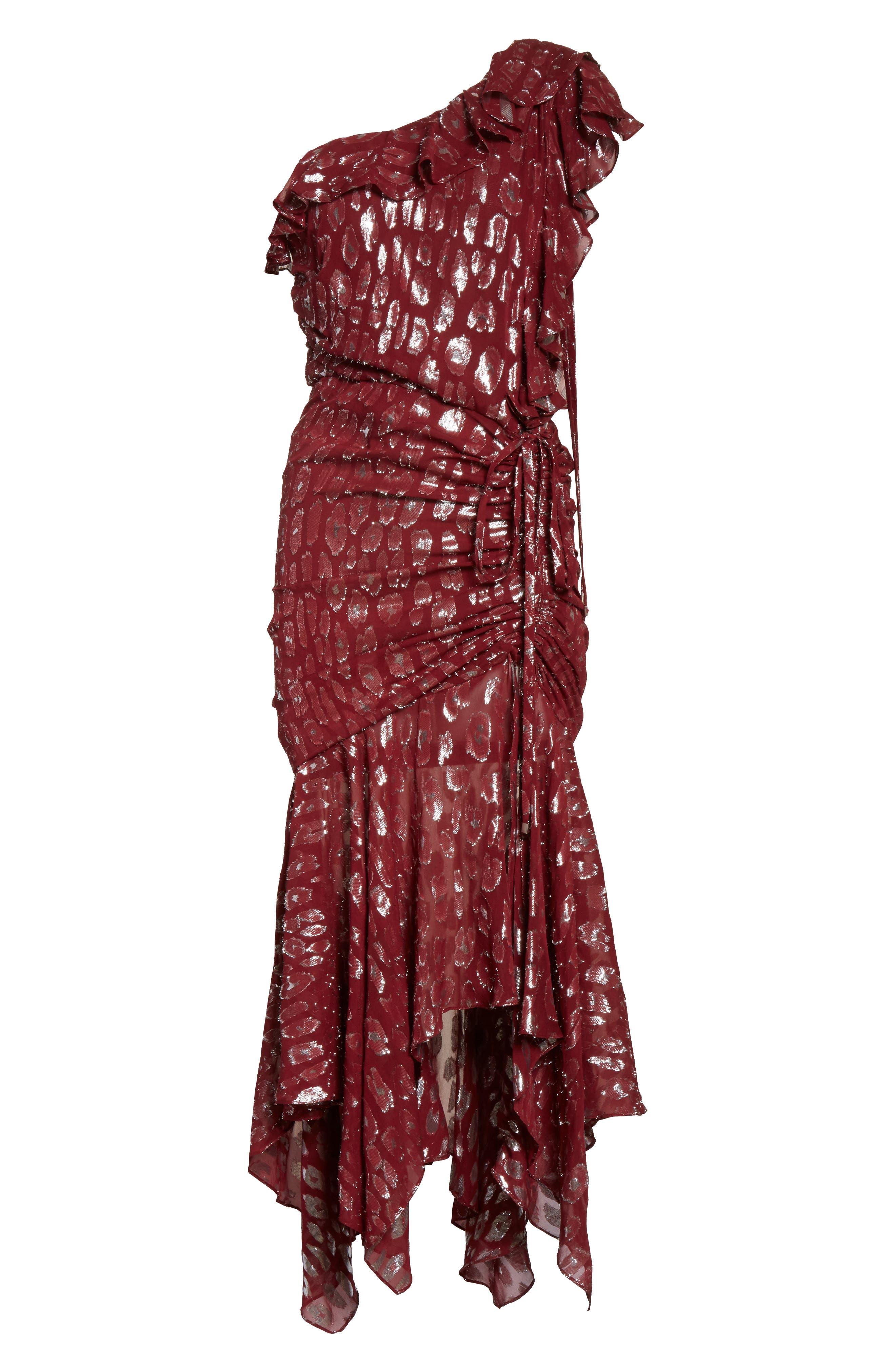 Leighton Fil Coupé One-Shoulder Dress,                             Alternate thumbnail 6, color,                             641