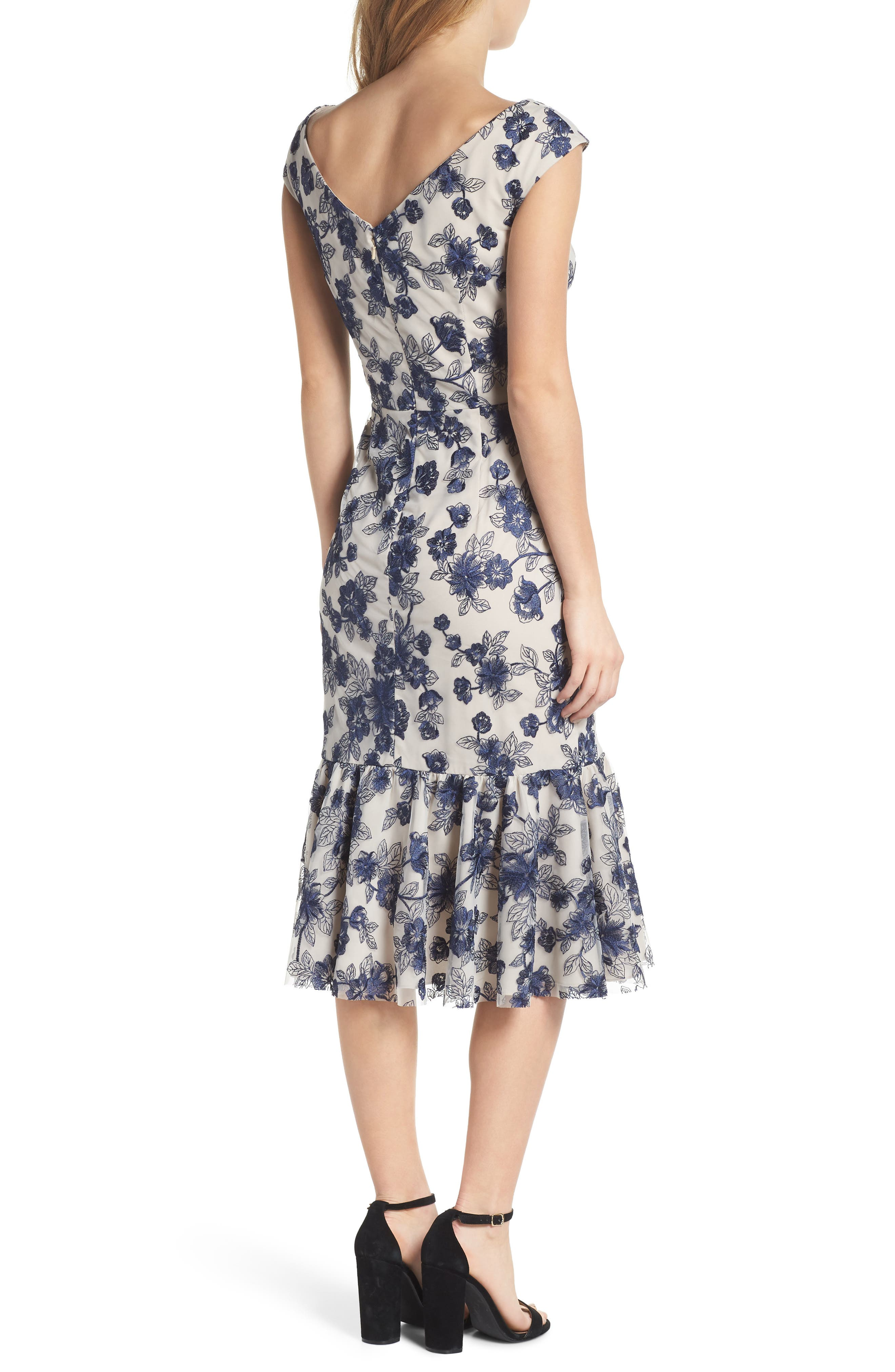 Rosemary Floral Embroidered Midi Dress,                             Alternate thumbnail 2, color,                             419