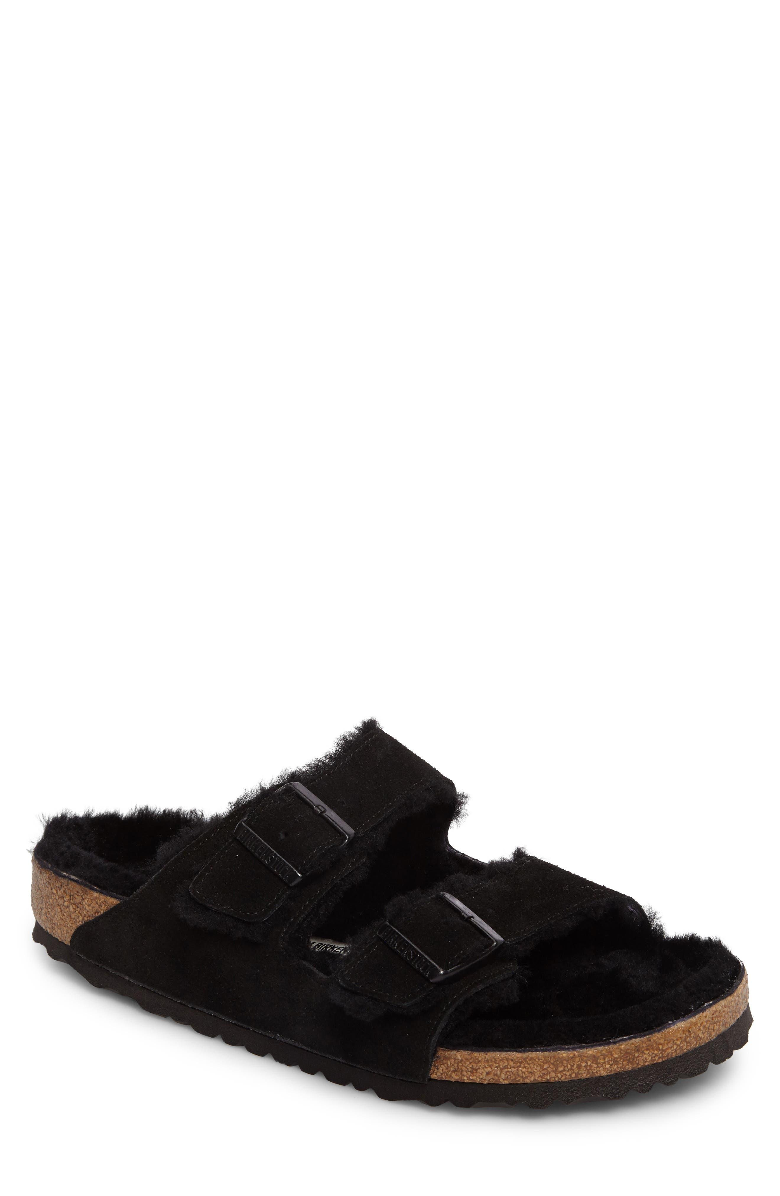 Birkenstock Arizona Slide Sandal With Genuine Shearling,10.5 - Black