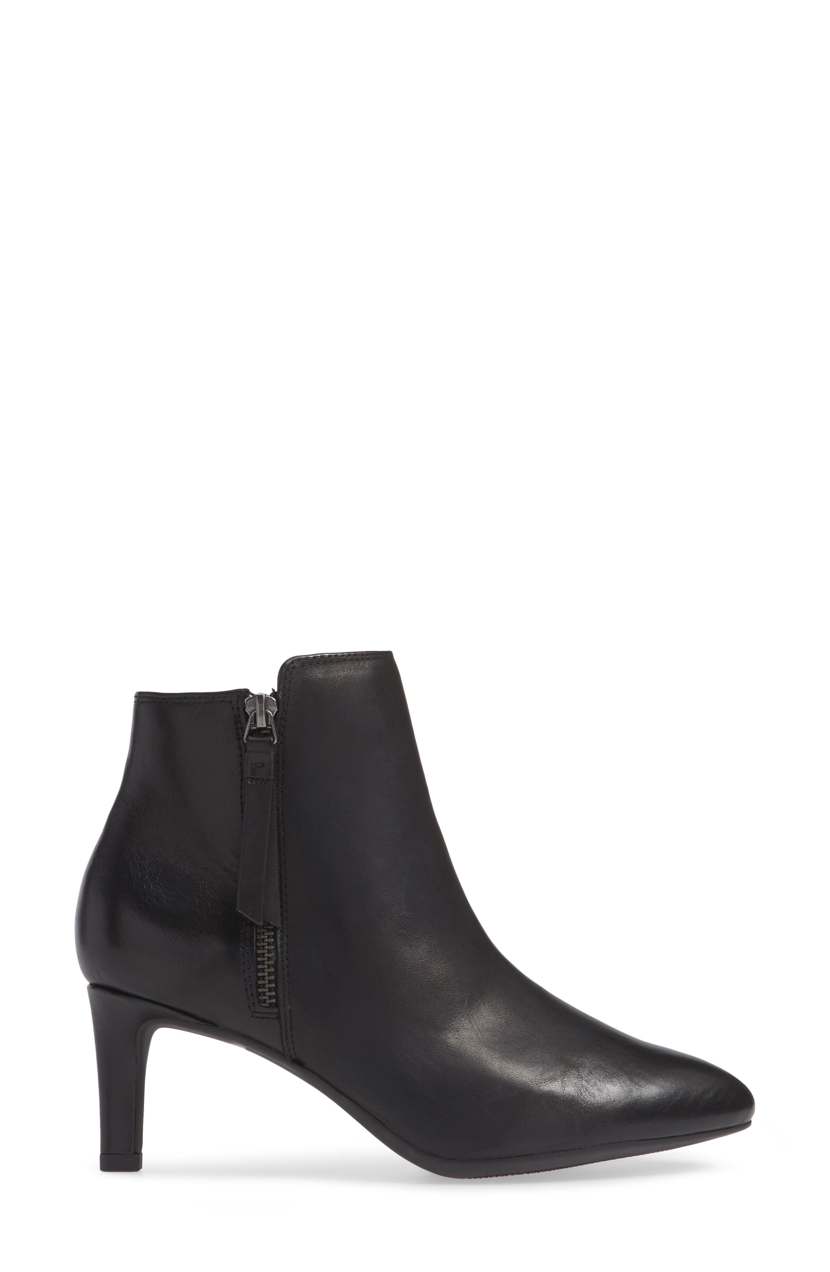 Calla Blossom Bootie,                             Alternate thumbnail 3, color,                             BLACK LEATHER