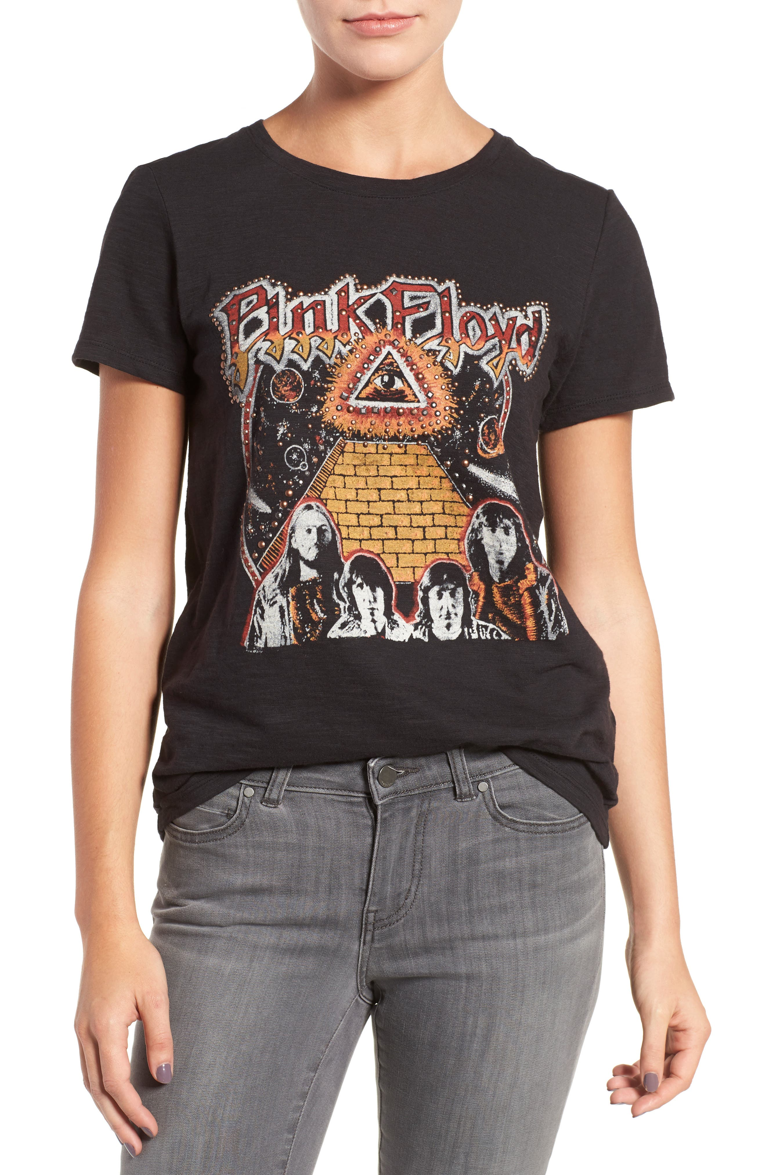 Studded Pink Floyd Graphic Tee,                             Main thumbnail 1, color,                             001