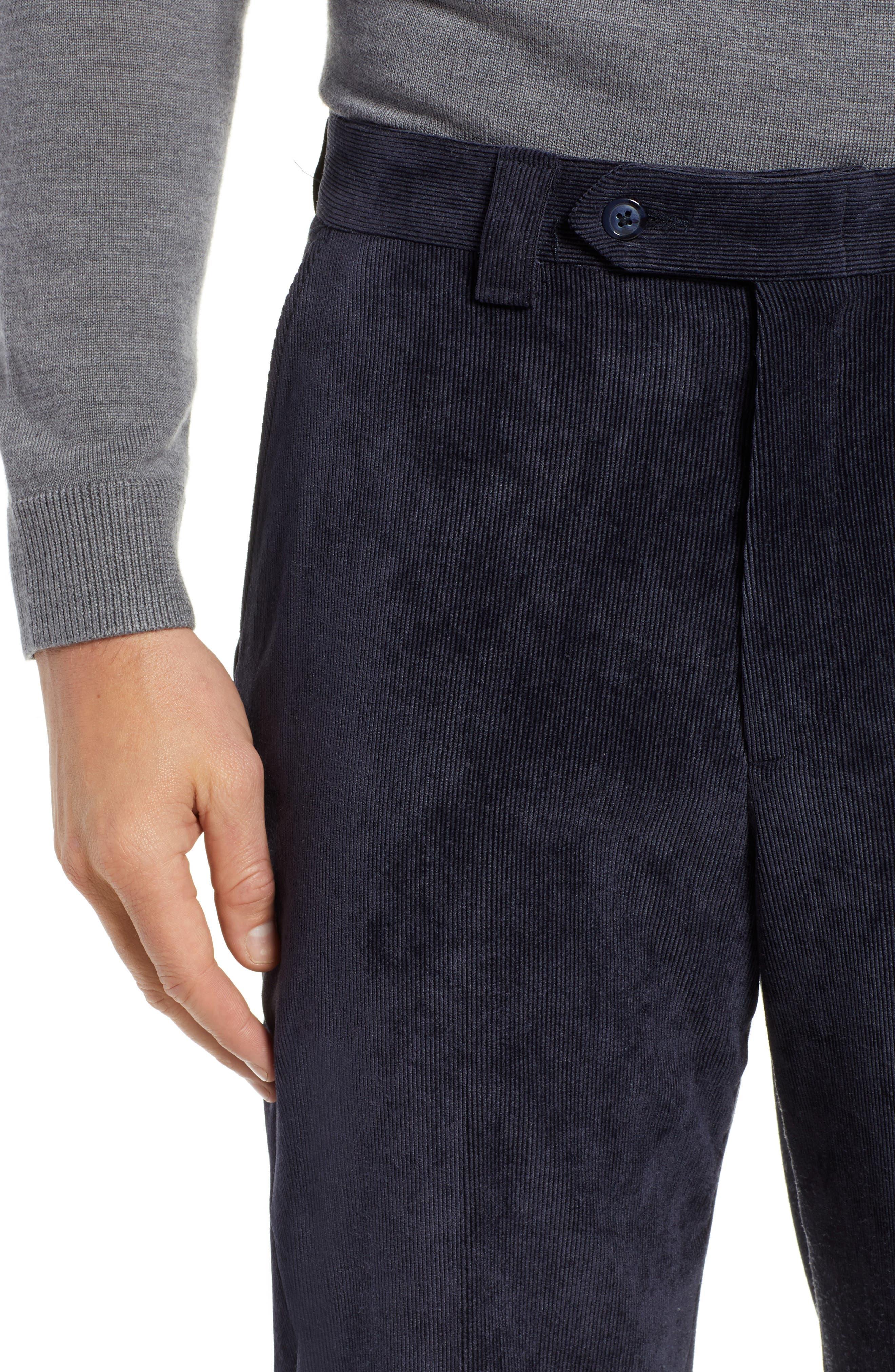 BERLE,                             Classic Fit Flat Front Corduroy Trousers,                             Alternate thumbnail 4, color,                             410